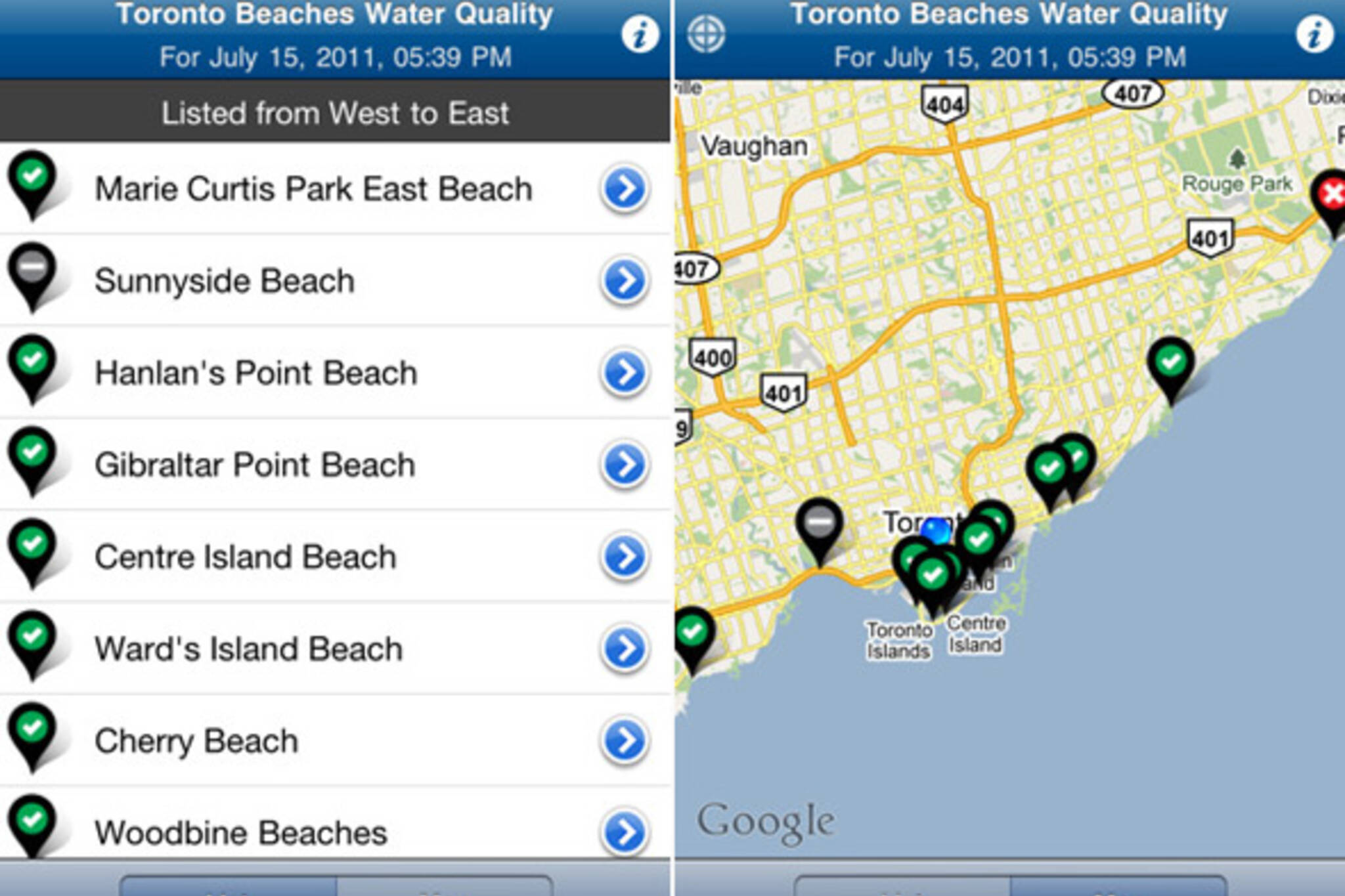Toronto beaches water quality app