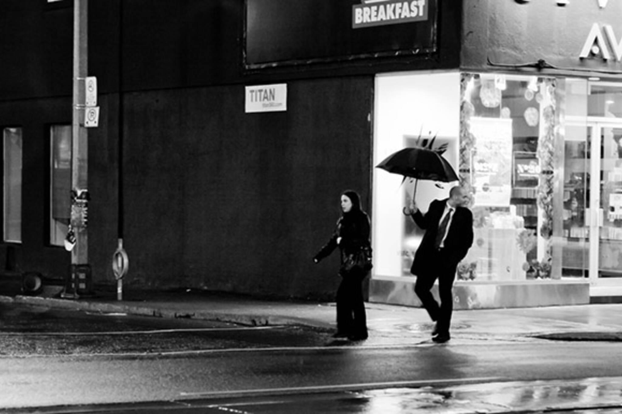 rain, suit, man