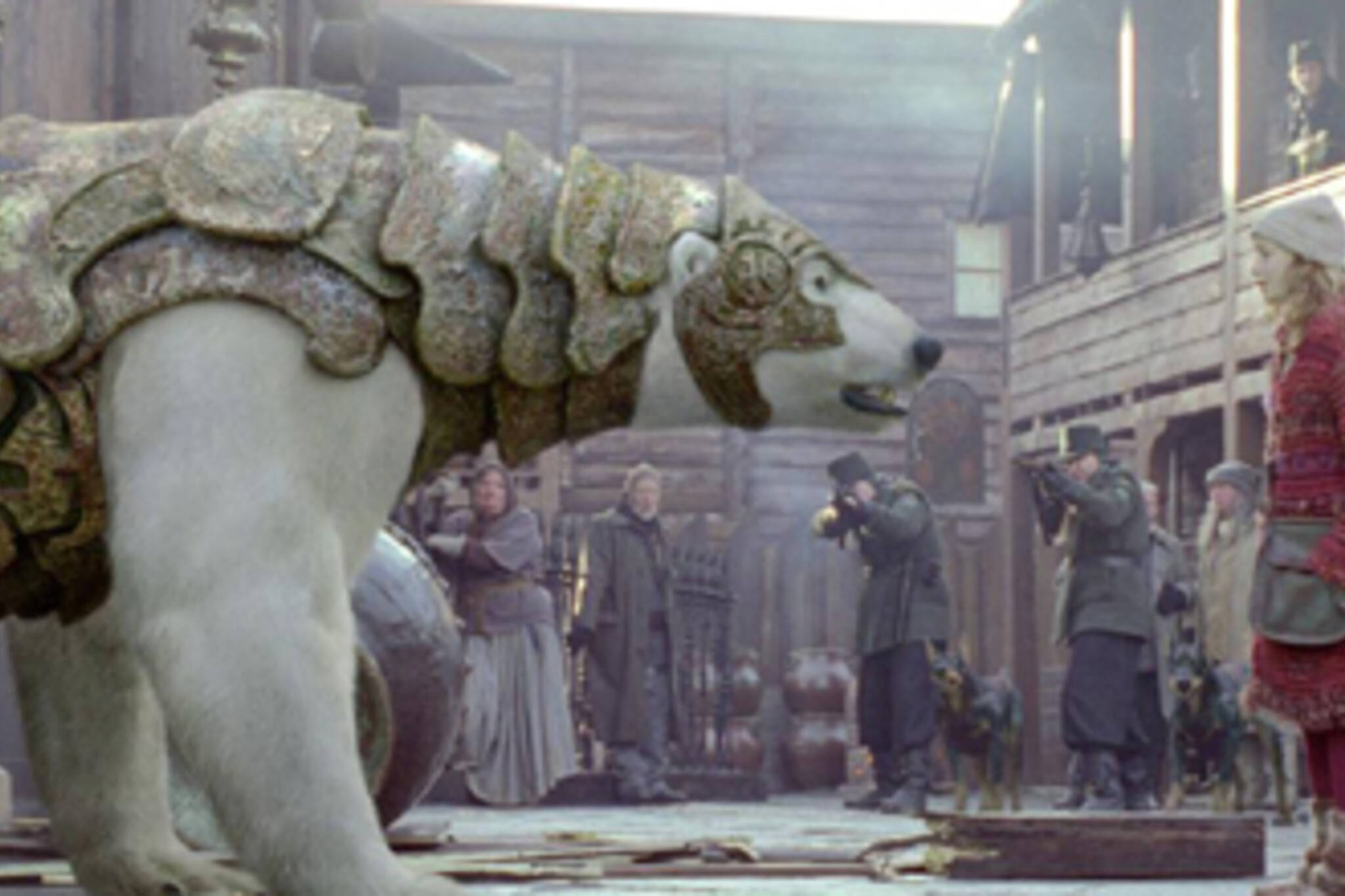 Lyra and Iorek in The Golden Compass