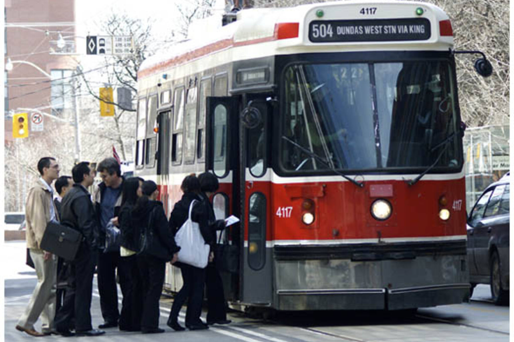 TTC streetcar picks up passengers