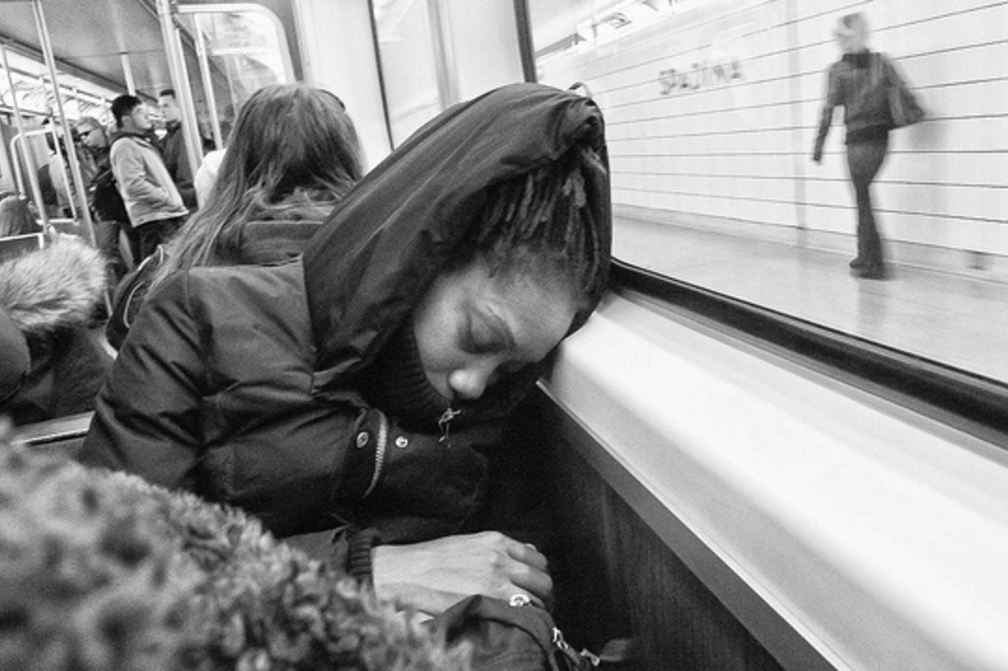 subway sleeping