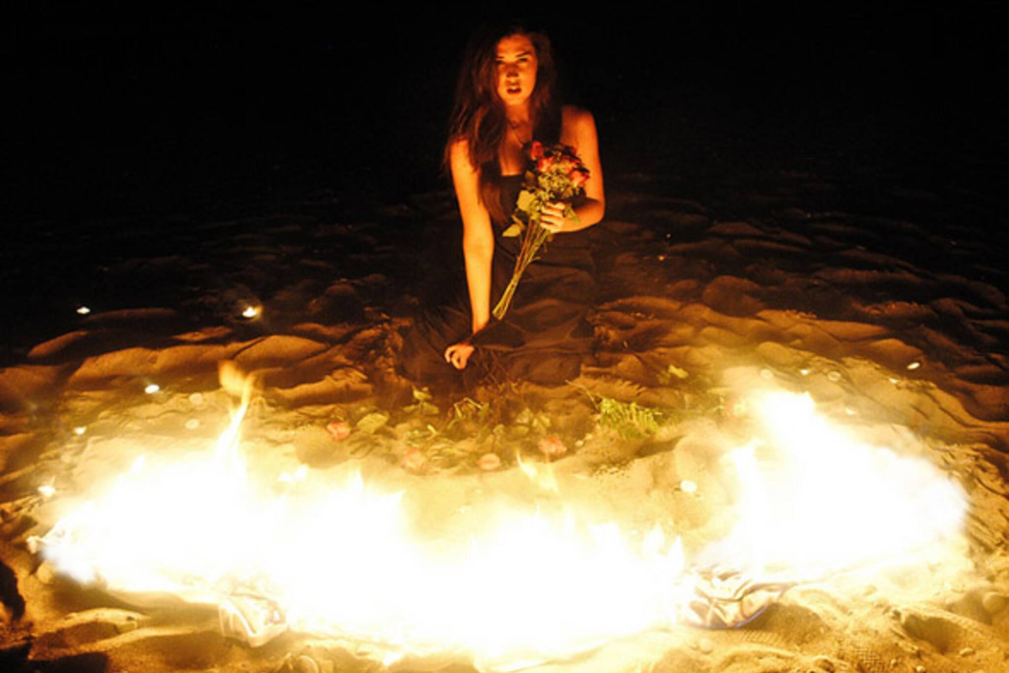 fire, flowers, girl