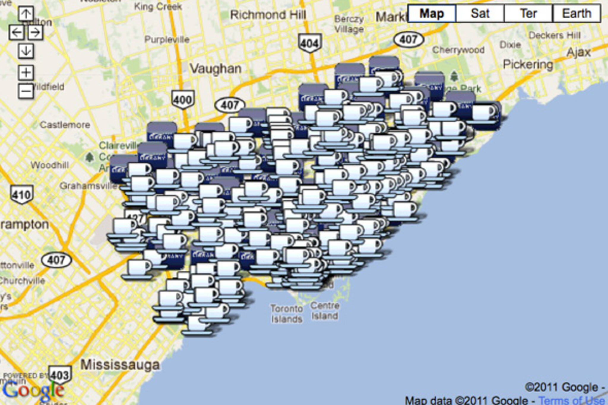 Tim Hortons Vs Toronto Public Libraries Mashup - Tim hortons us locations map