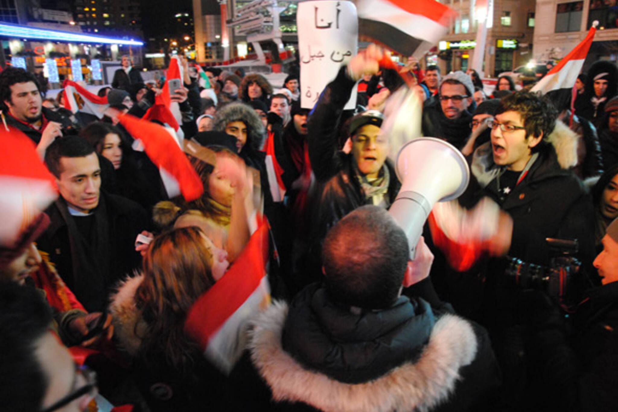Toronto Egypt Celebrate Mubarak Yonge Dundas