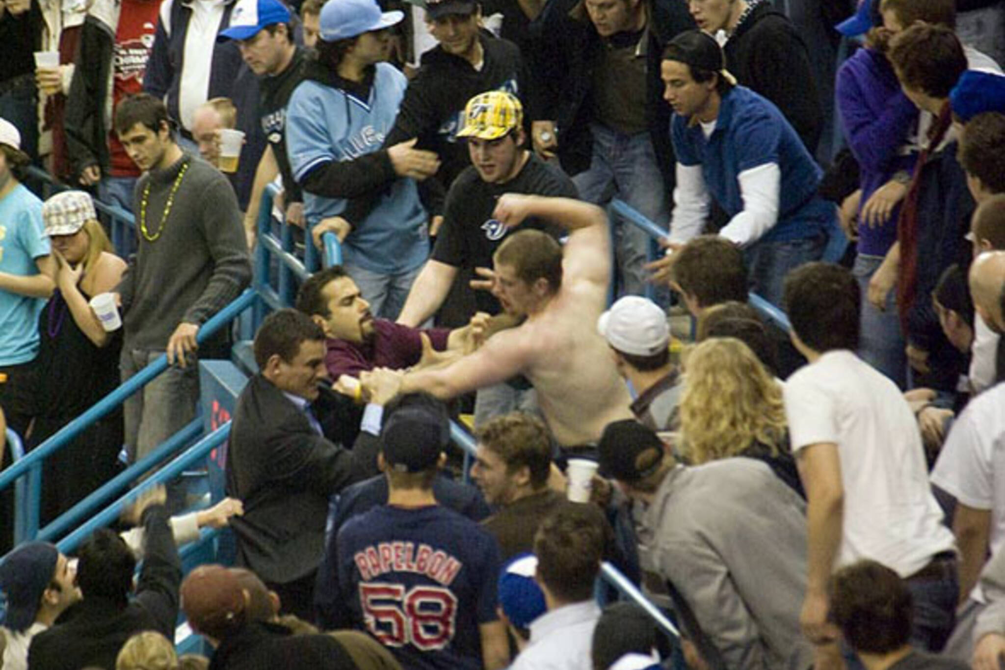 Fans fight on Opening Day at the Rogers Centre