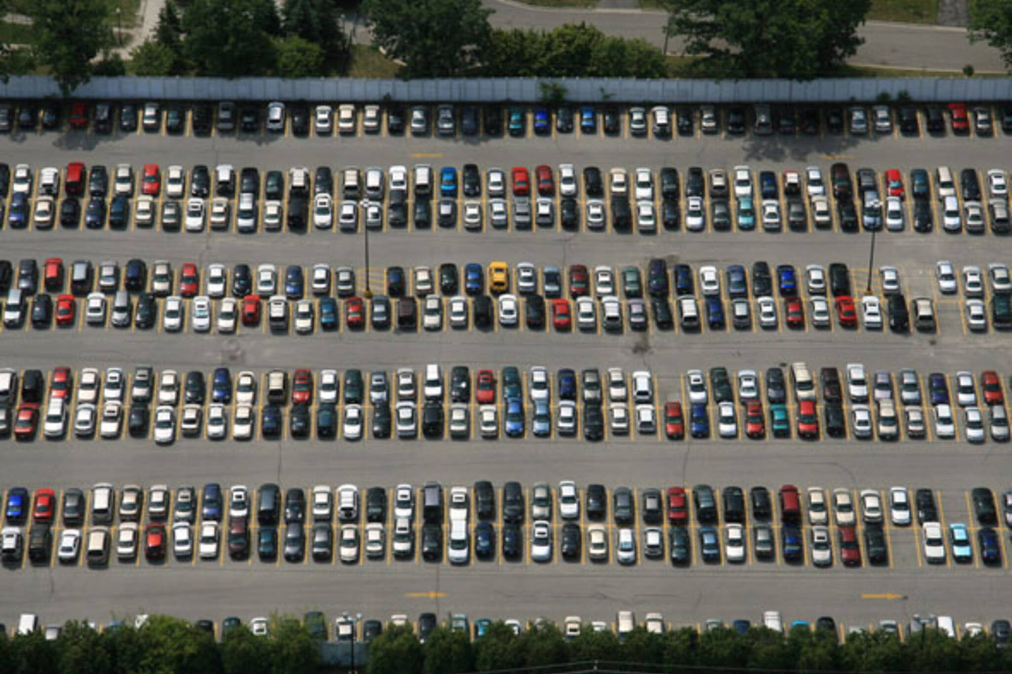 Parking Lots Filled With New Cars