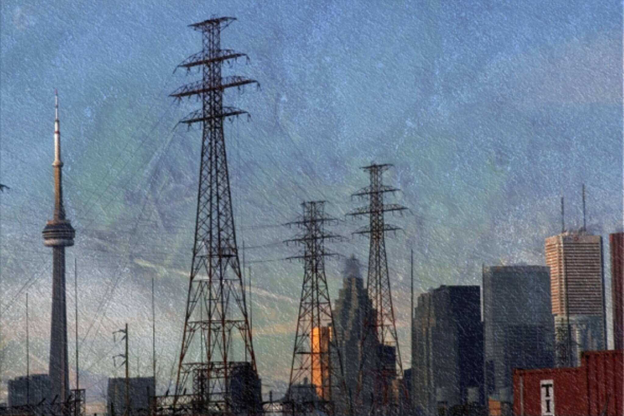 Electrical towers over downtown Toronto