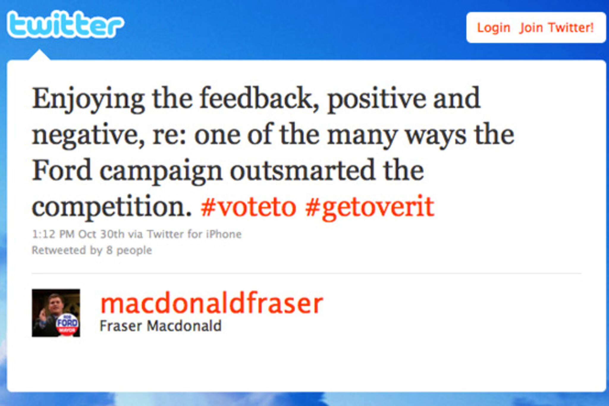 Fraser MacDonald Tweet