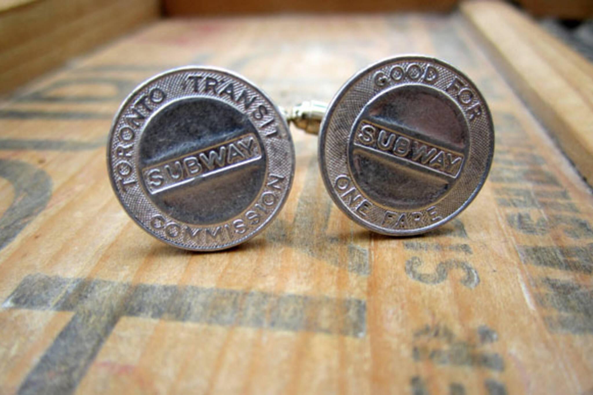 vintage toronto ttc token cufflinks