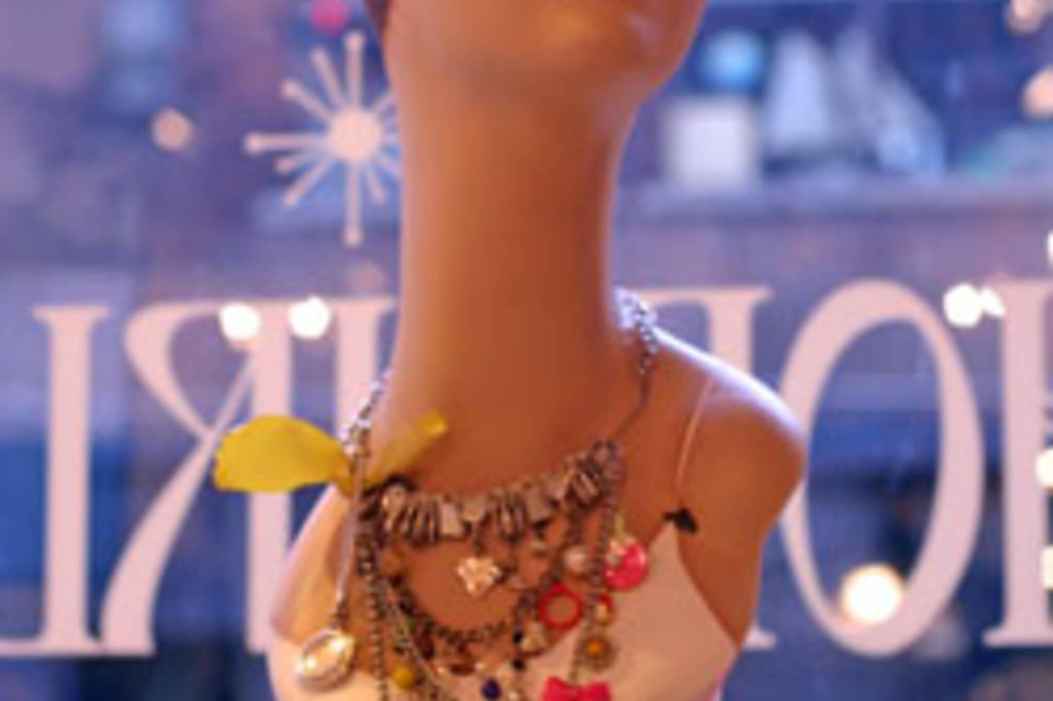 Shopgirl sporting the Domestic Goddess necklace