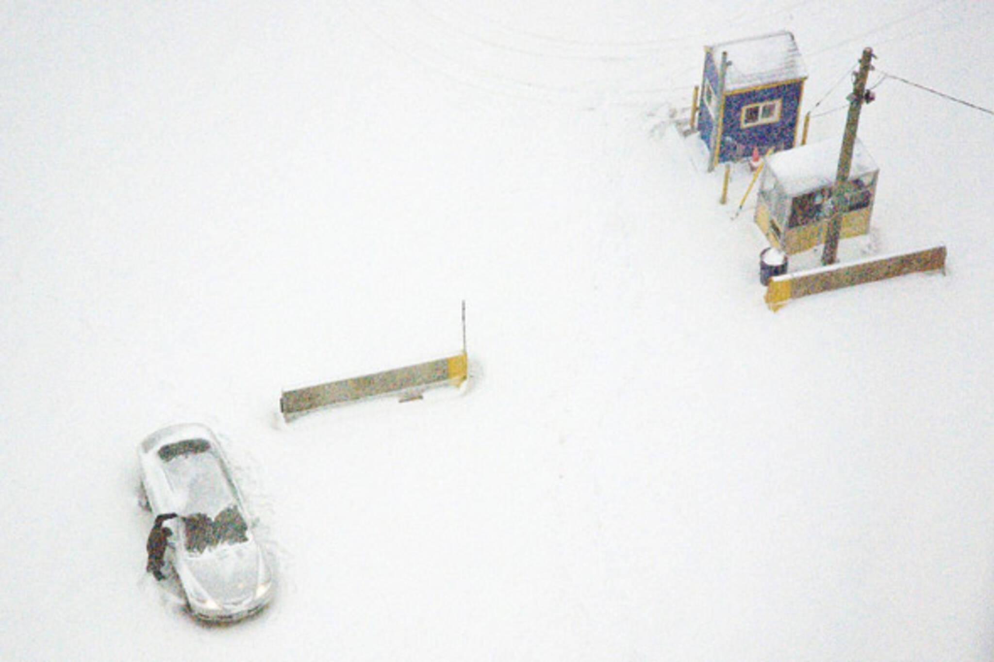 snow storm parking lot
