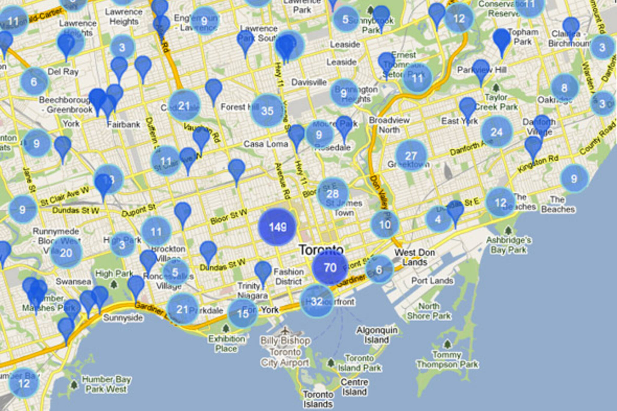 How many cellular towers are there in Toronto? Cellular Towers Map on