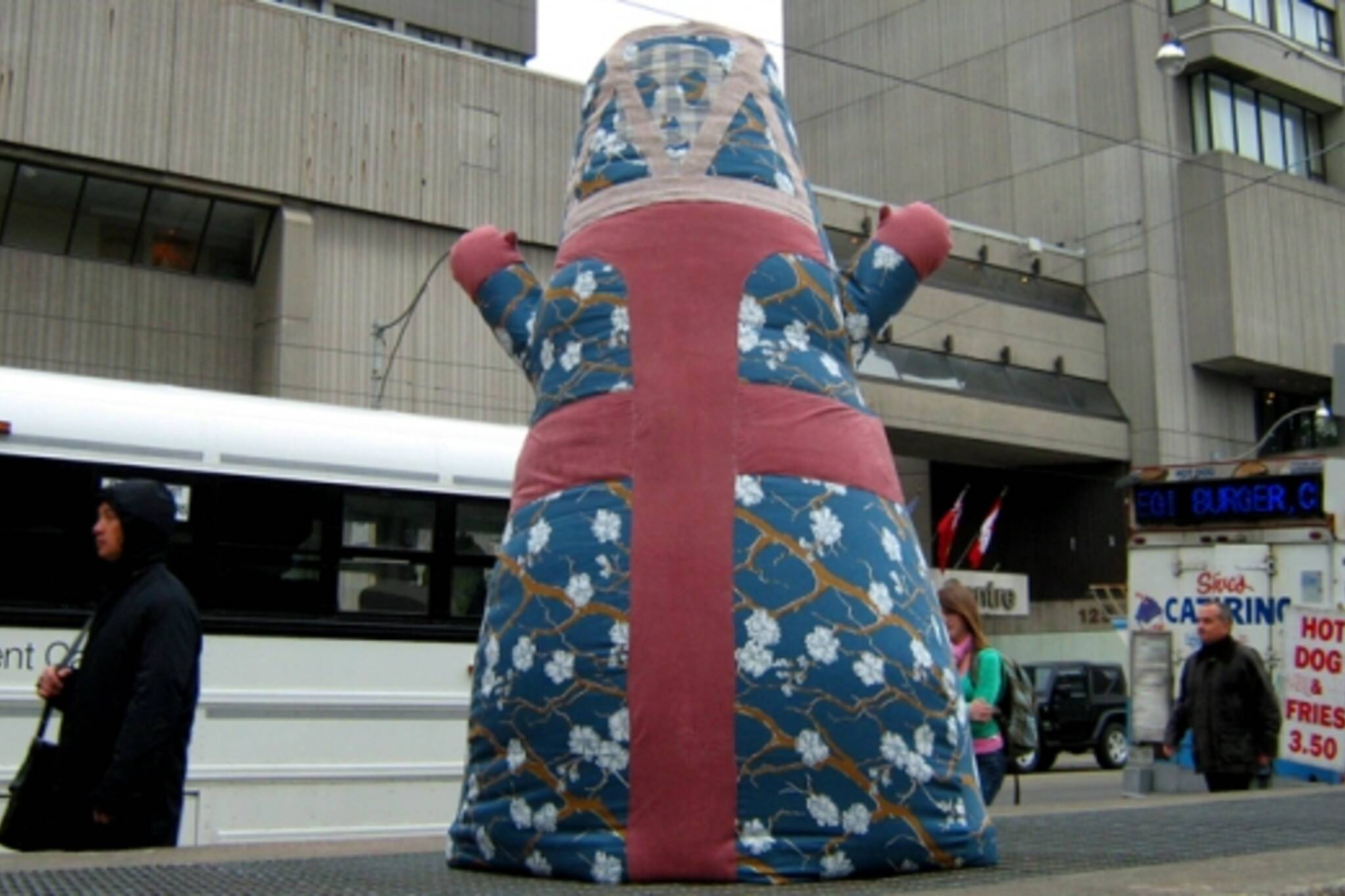 Poster Child's big inflated doll at Nathan Phillips Square