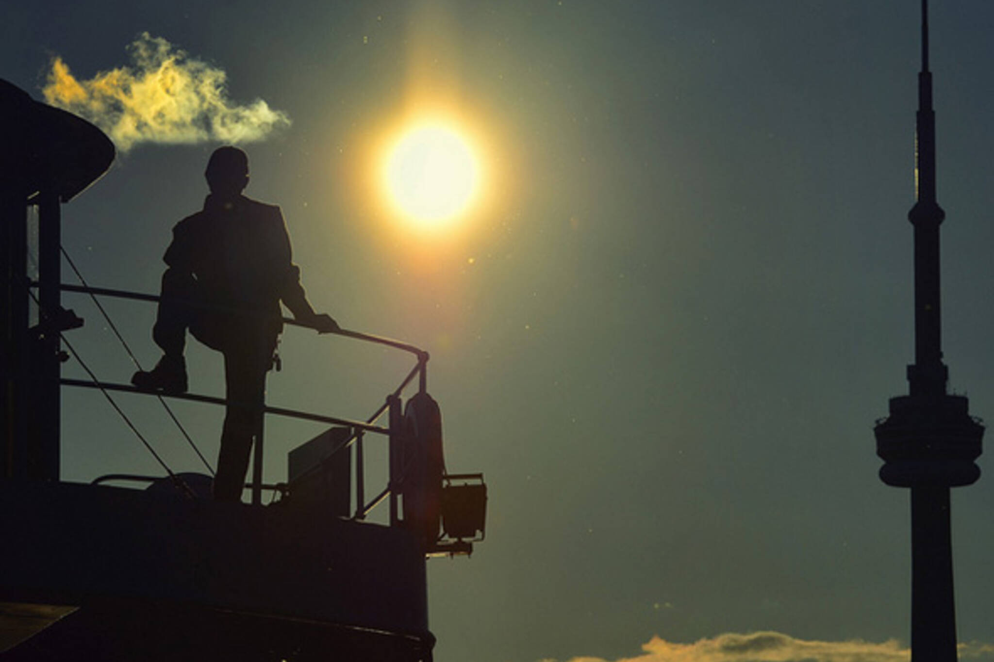 ferry, boat, sun