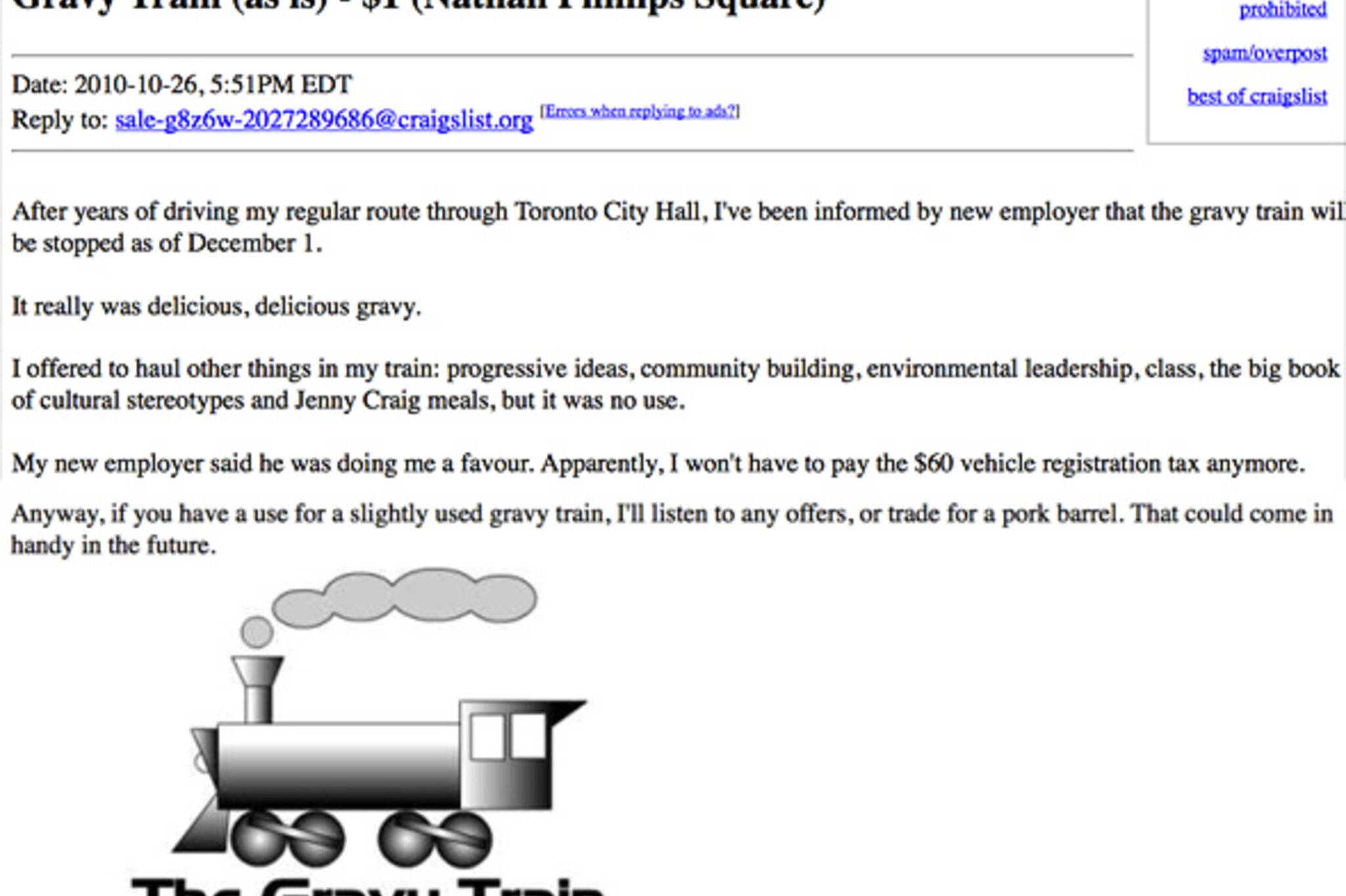 Gravy Train Craigslist Ad