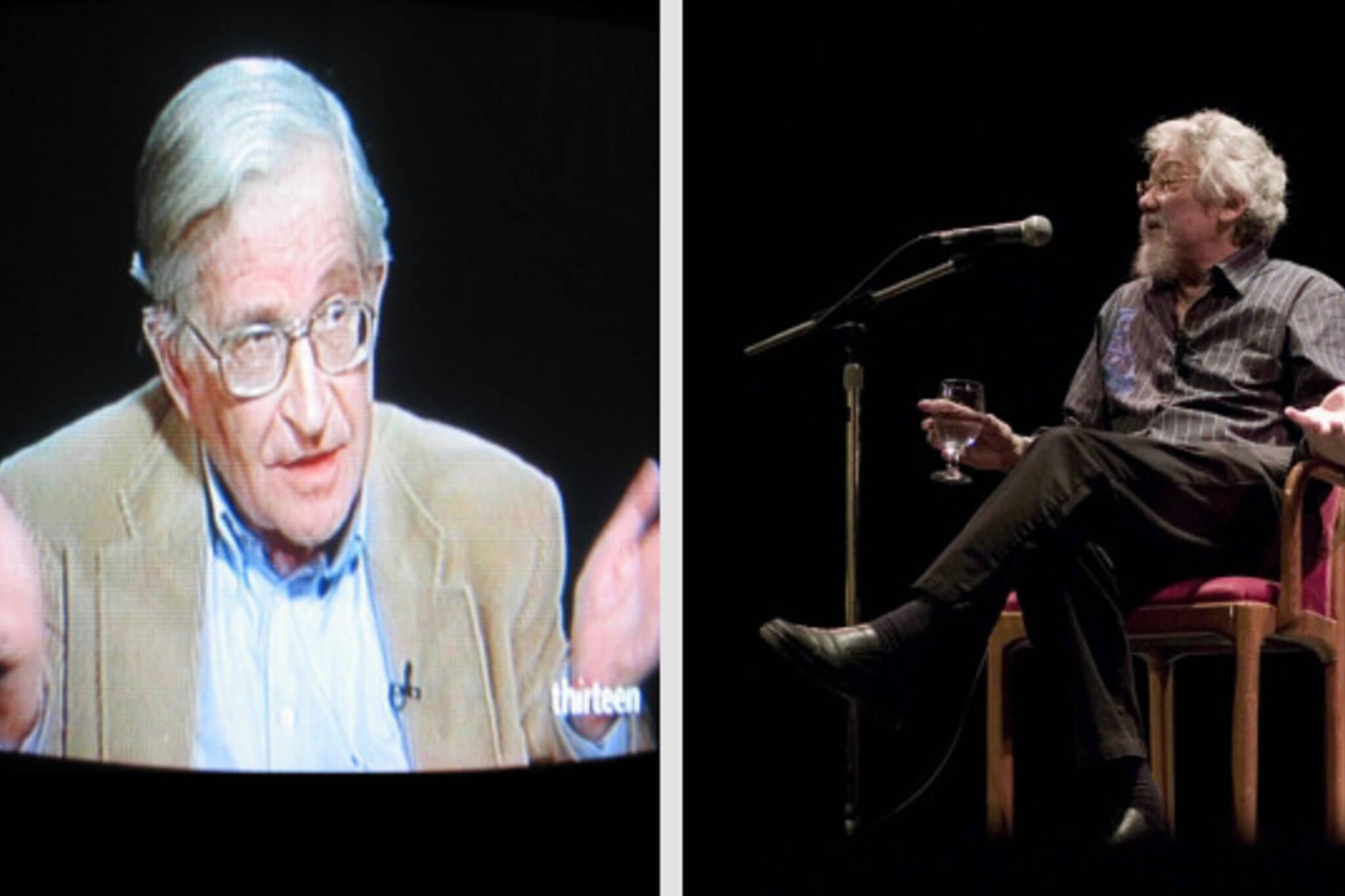 TV Screen Noam Chomsky shrugs with David Suzuki