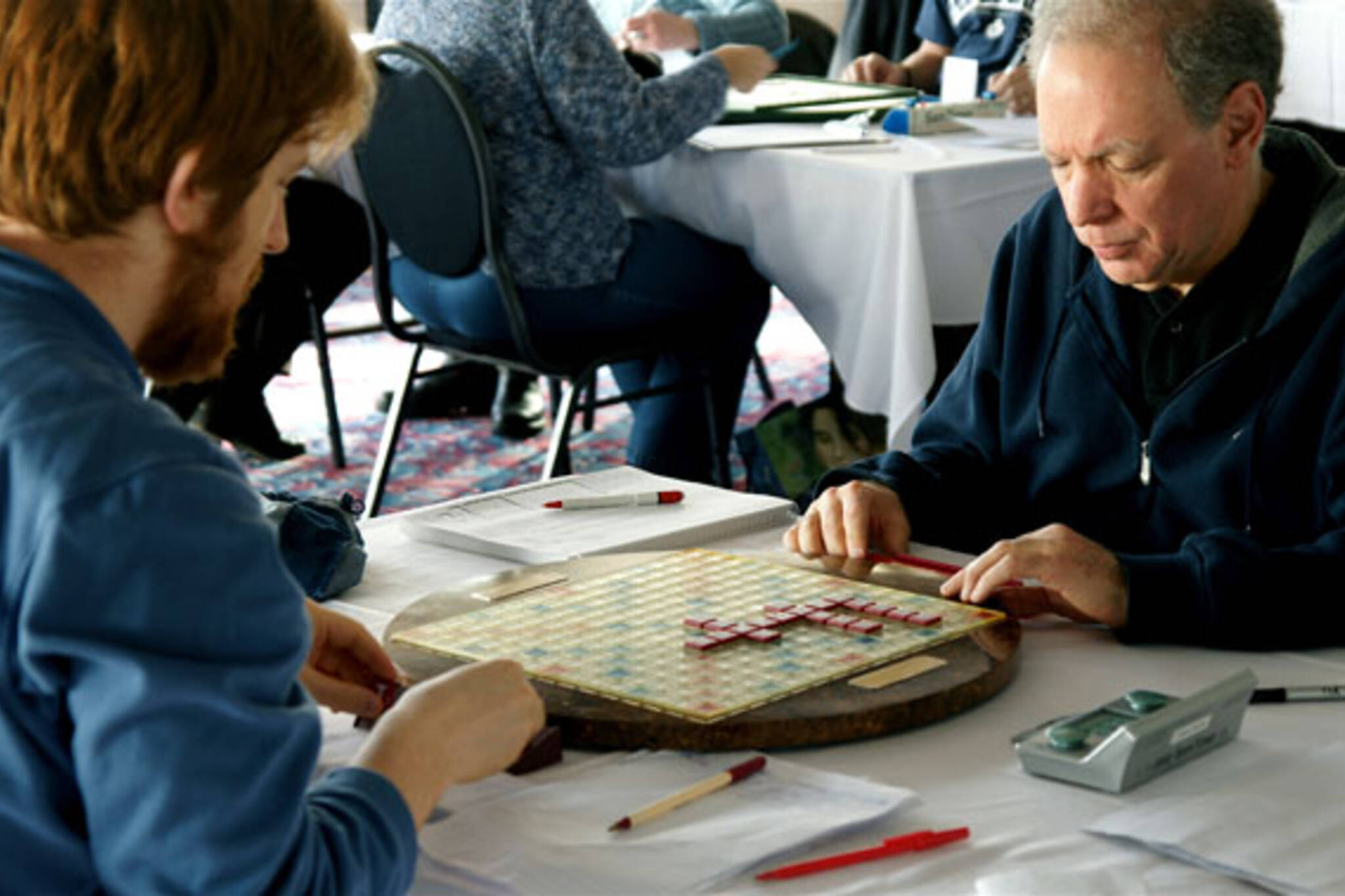 Scrabble masters Adam Logan and Joel Wapnick battle wits during the Kingston Cup tournament