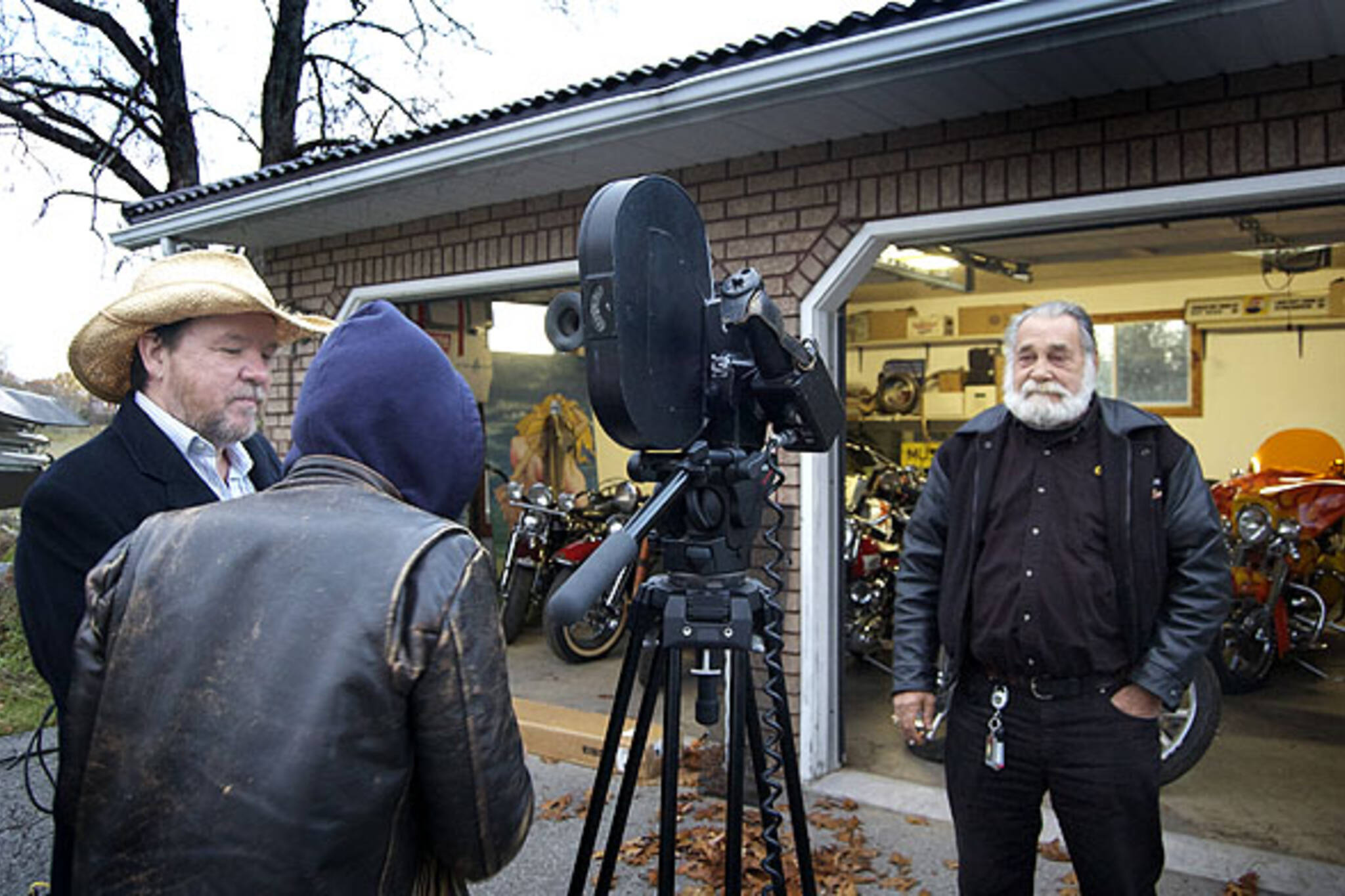 Bruce McDonald films Edjo, former head of the Vagabonds bike gang, for Yonge Street: Toronto Rock and Roll Stories