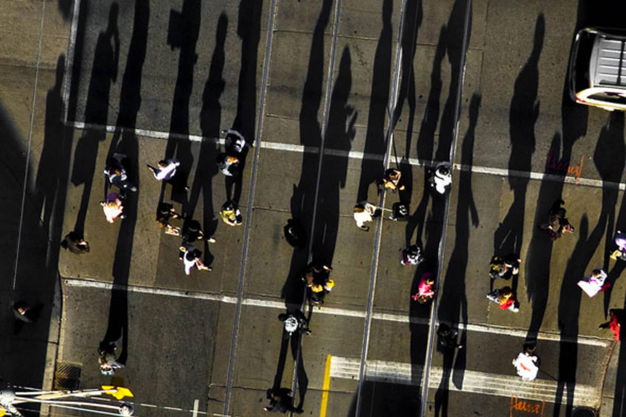 shadows pedestrians