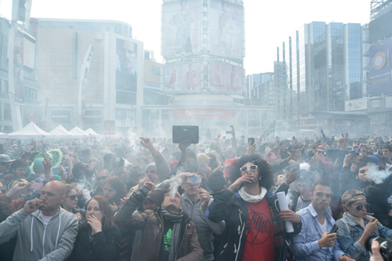 420 rally brings a plume of smoke to yonge amp dundas