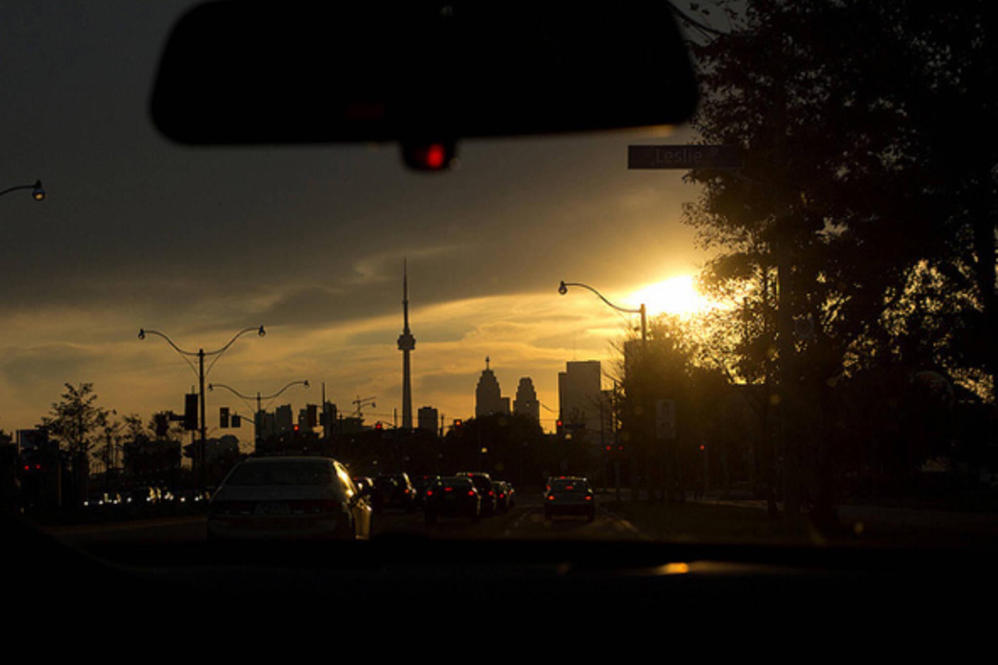 toronto, skyline, sunset