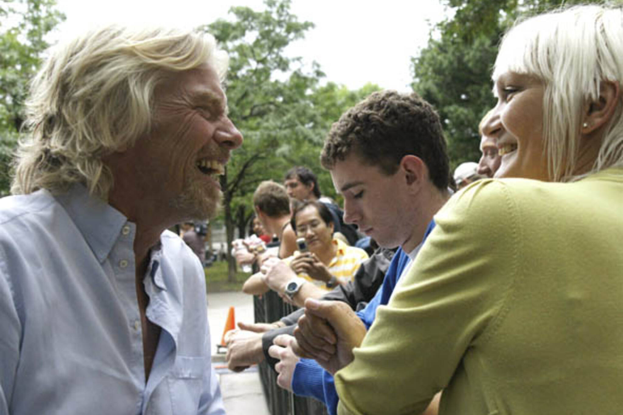 Richard Branson meets his fans at the Virgin Music Festival in Toronto
