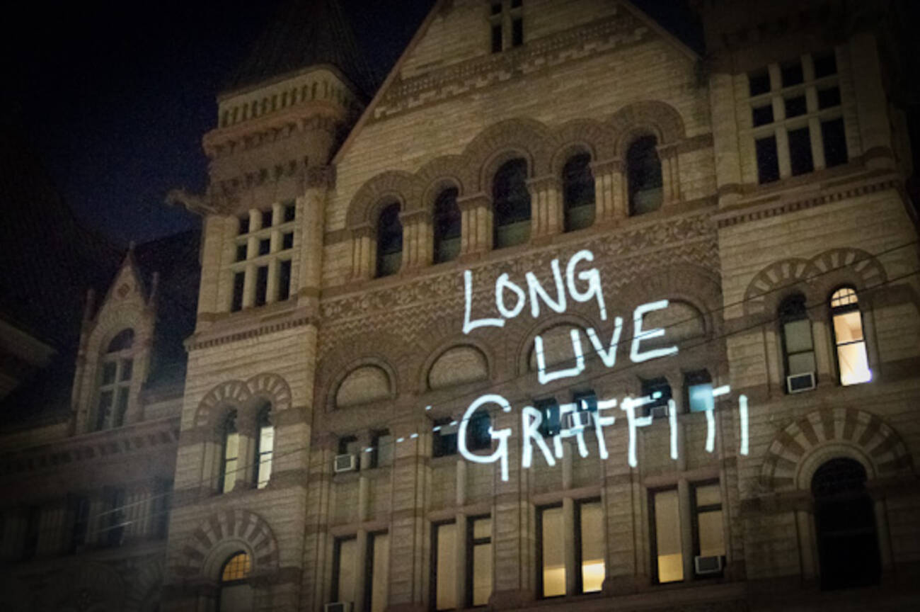 Old City Hall Gets Projection Bombed