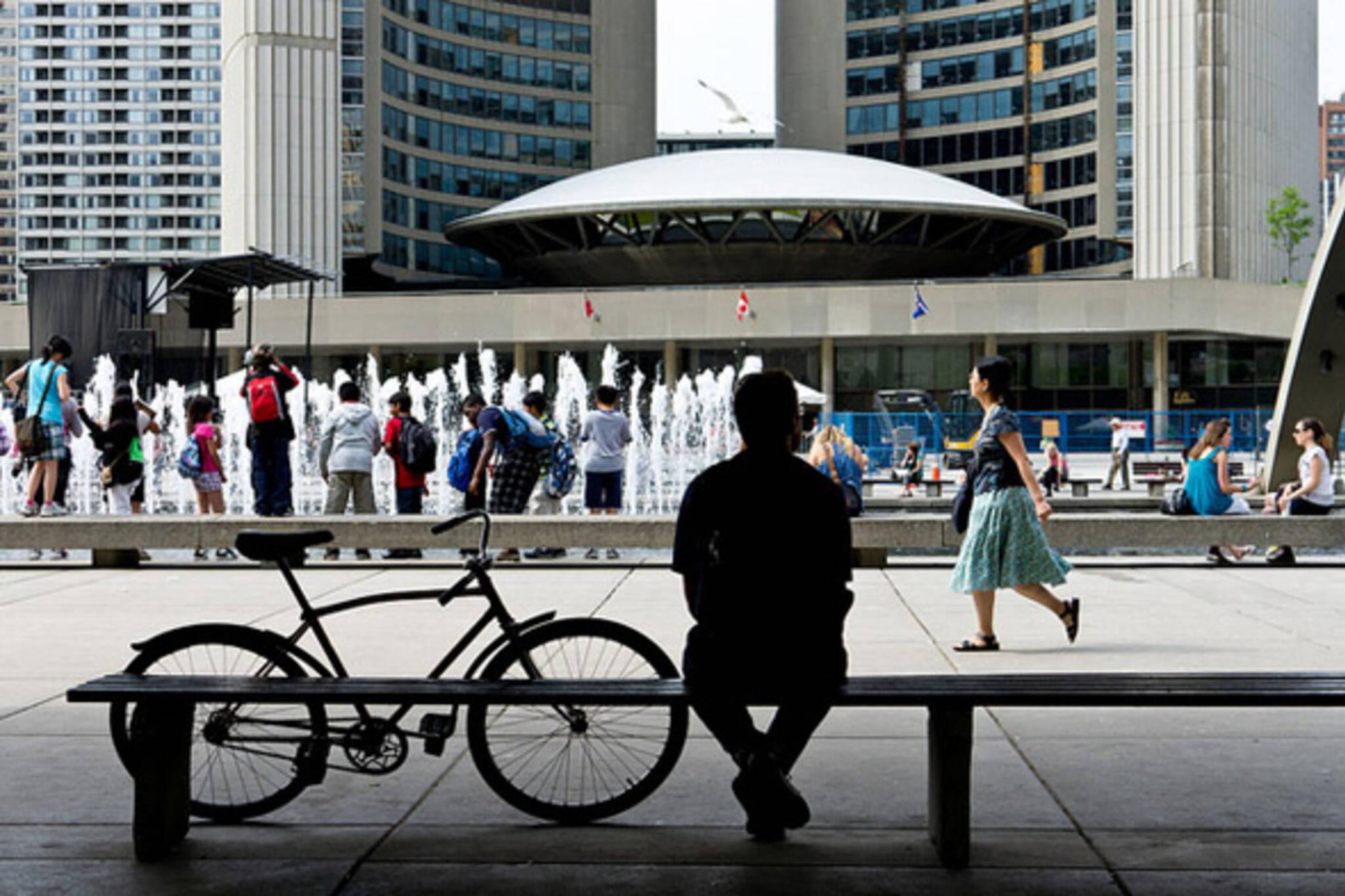 bike, sit, city hall
