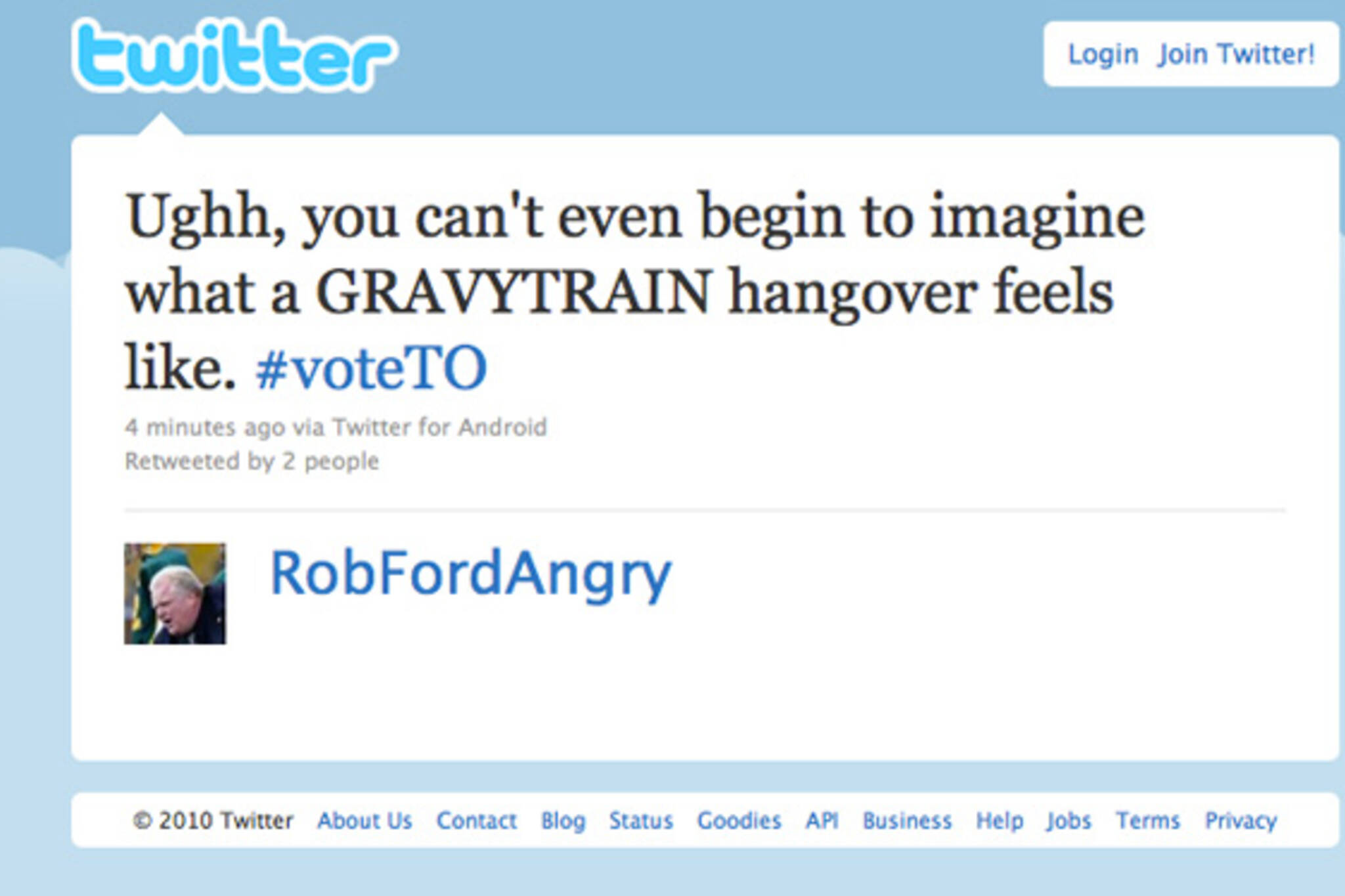 Twitter Rob Ford #voteTO