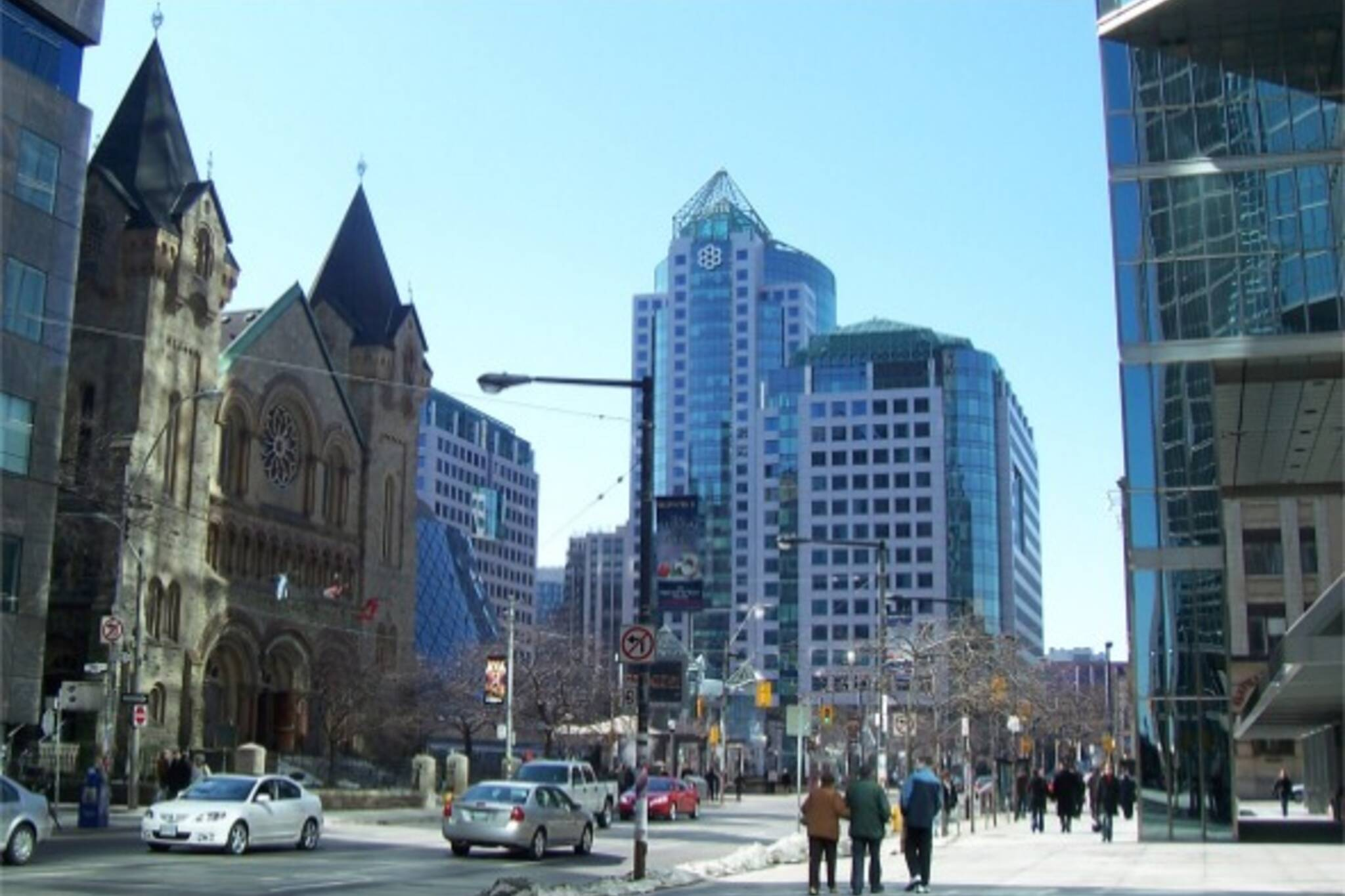 King and Simcoe, showing Roy Thomson Hall, Metro Hall, and St. Andrew's Church