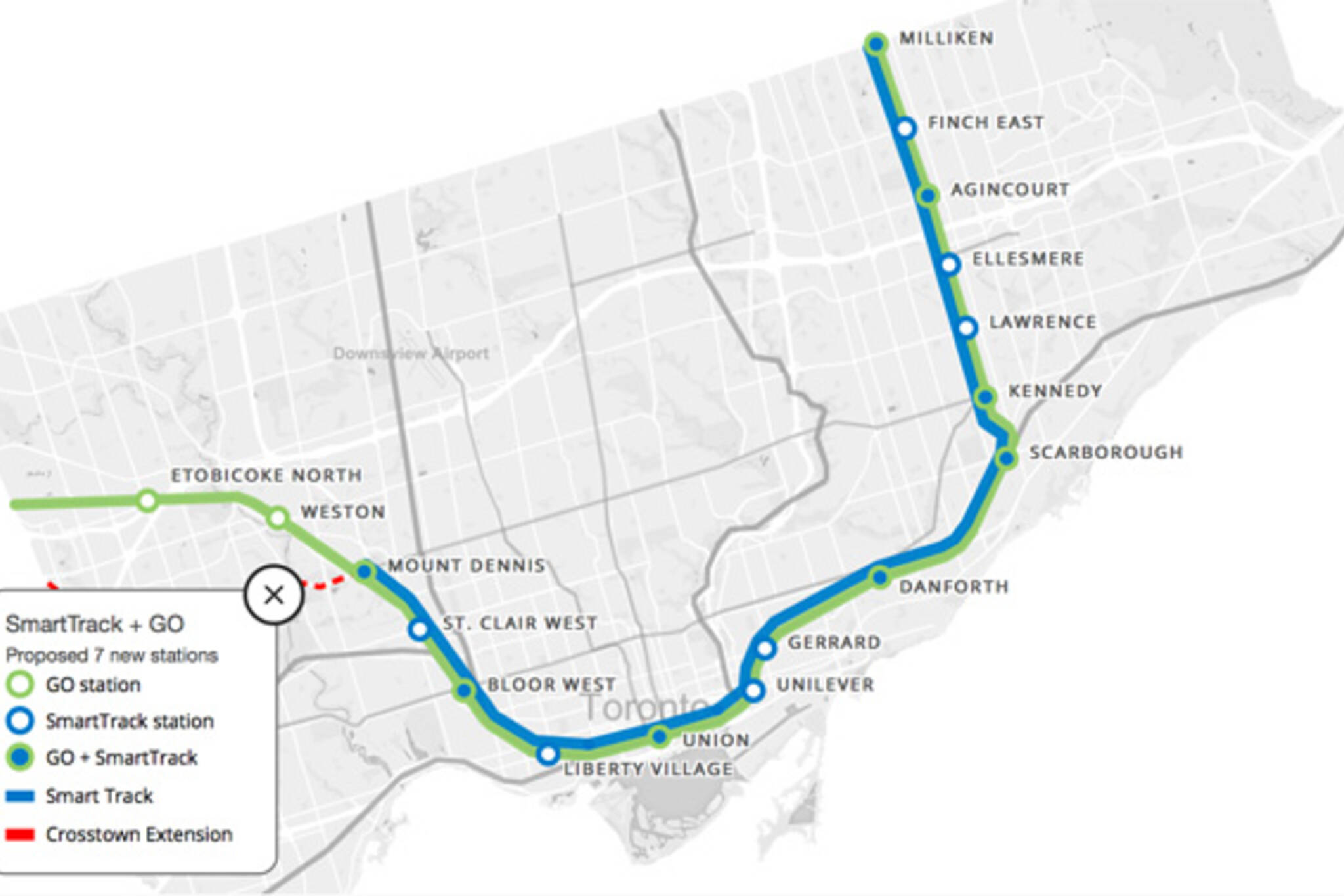 Smart Track Map This is what SmartTrack will probably look like