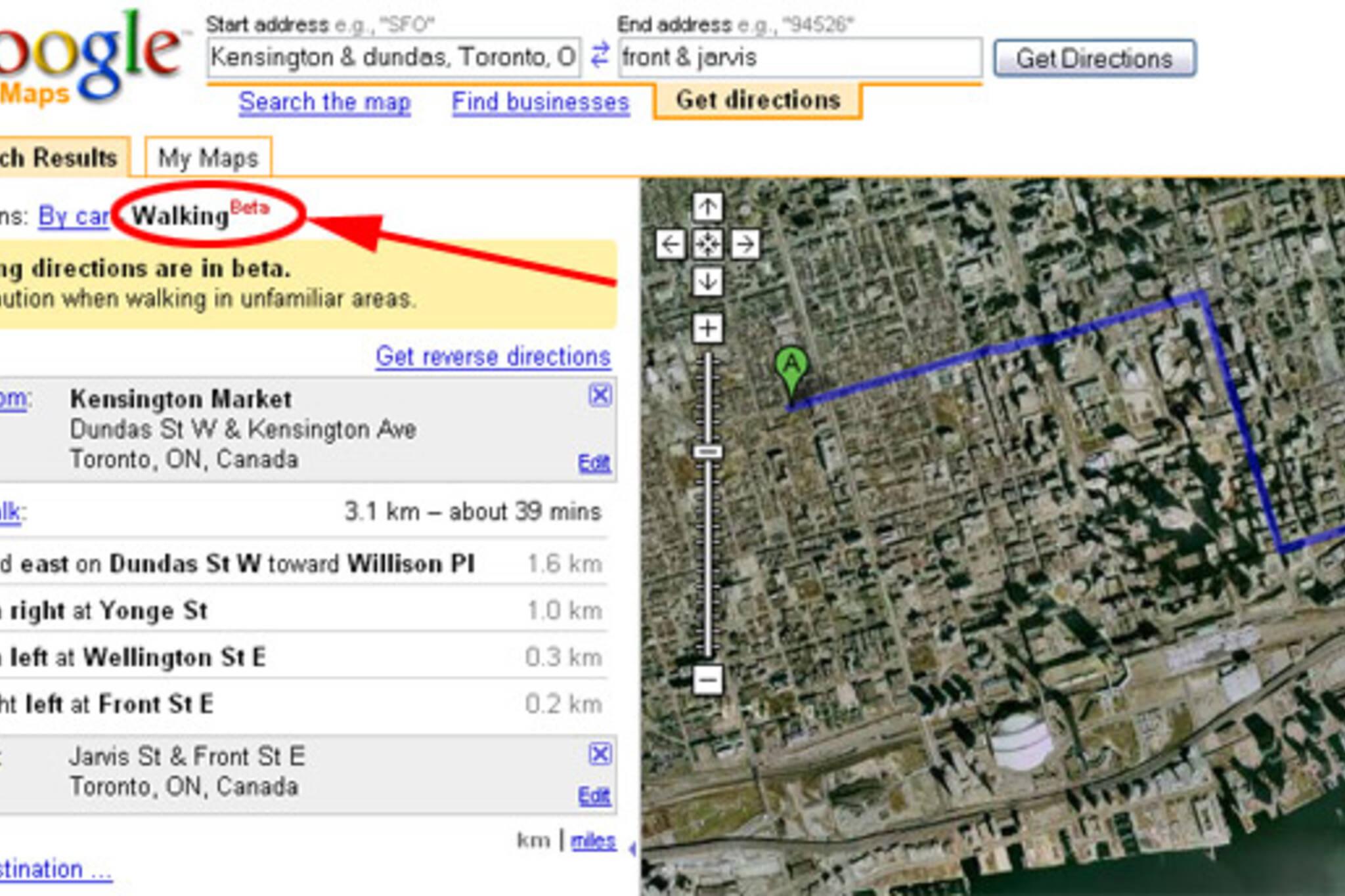 google maps toronto walking