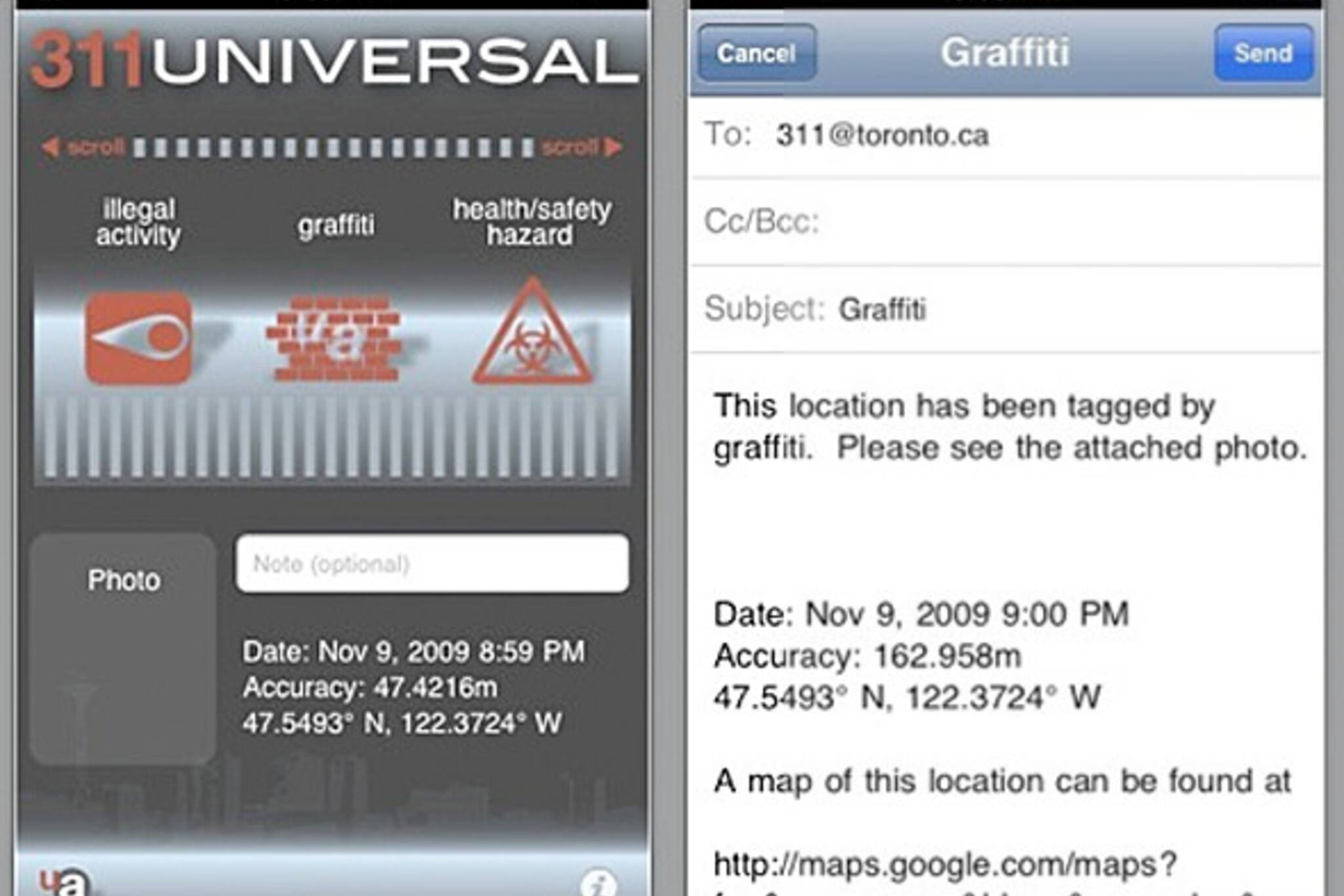311 universal iphone app toronto