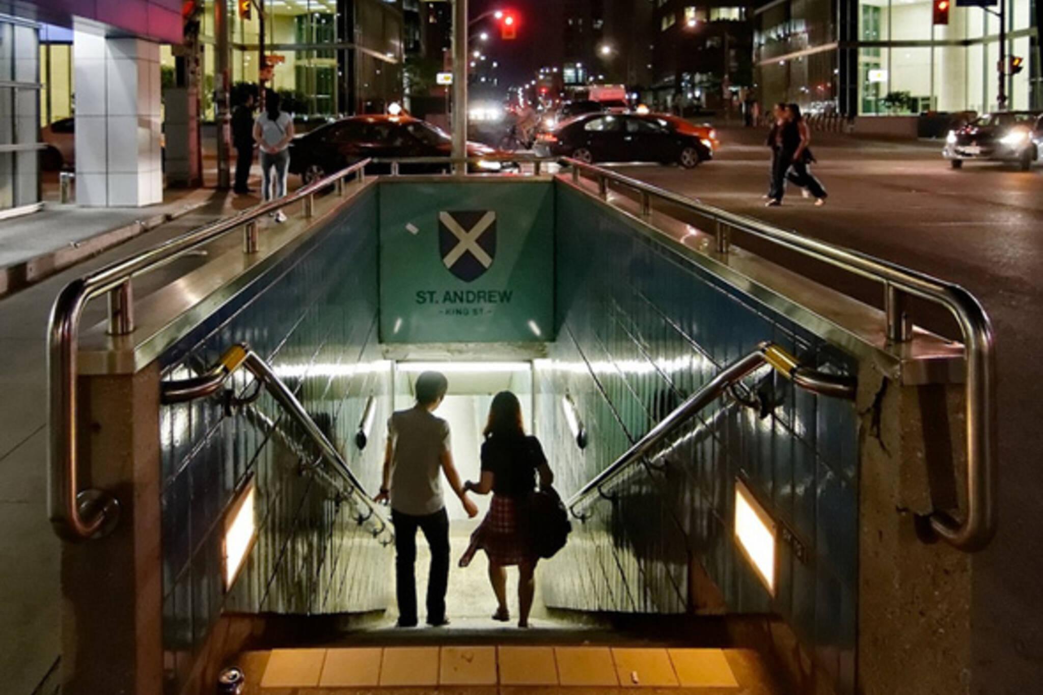 subway, night, light