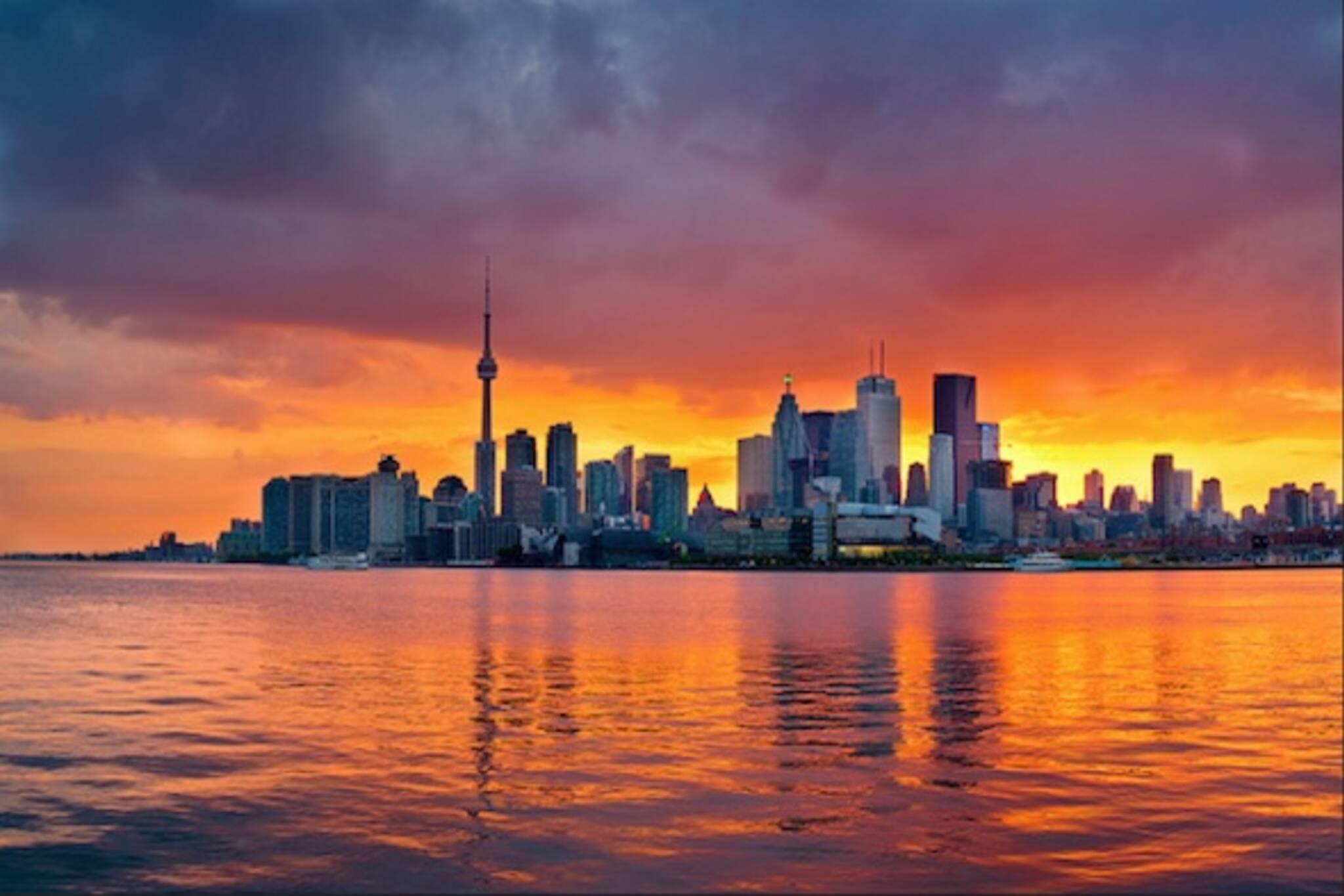 Toronto sunset polson pier