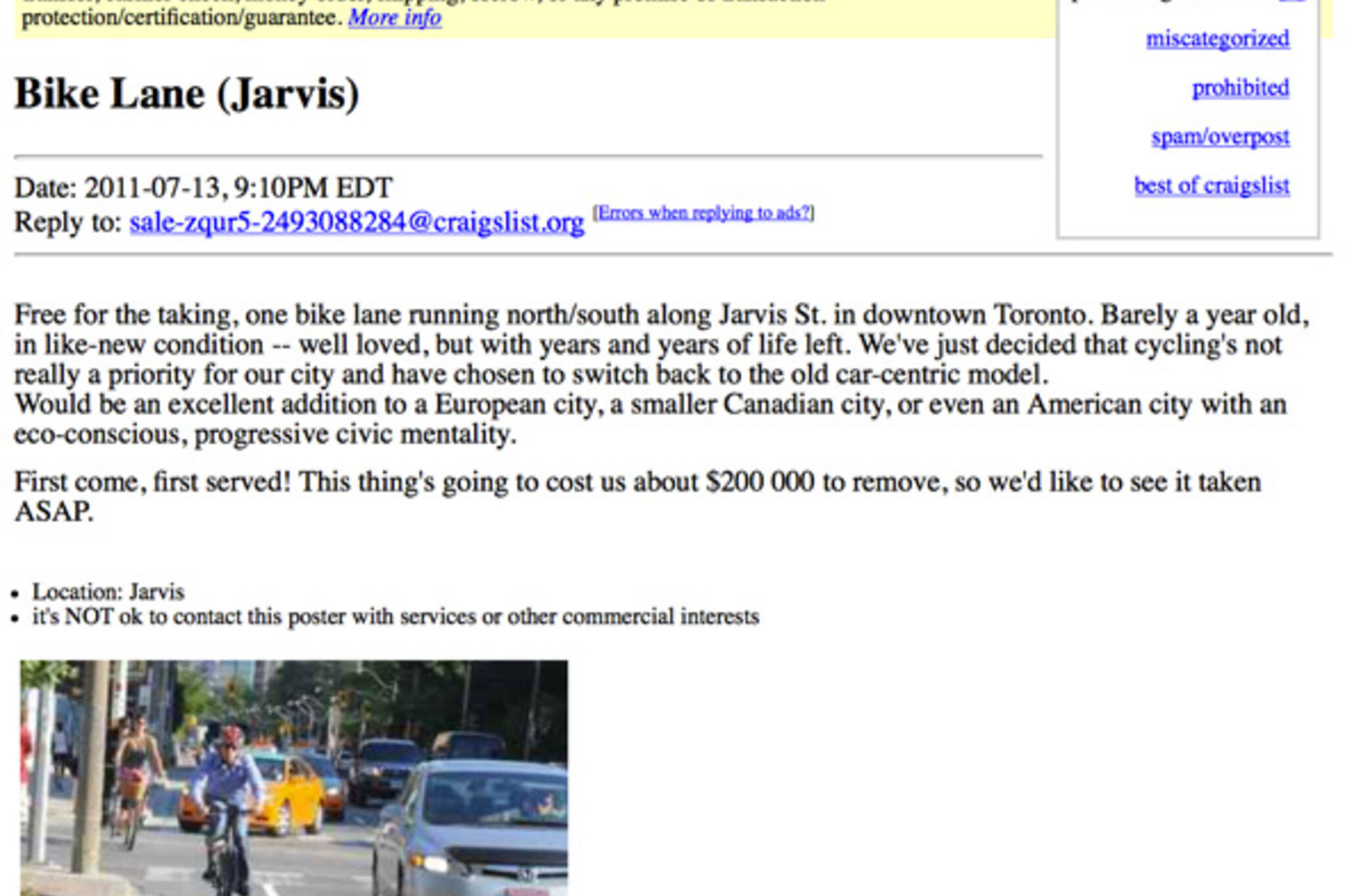 Jarvis bike lanes offered for free on Craigslist