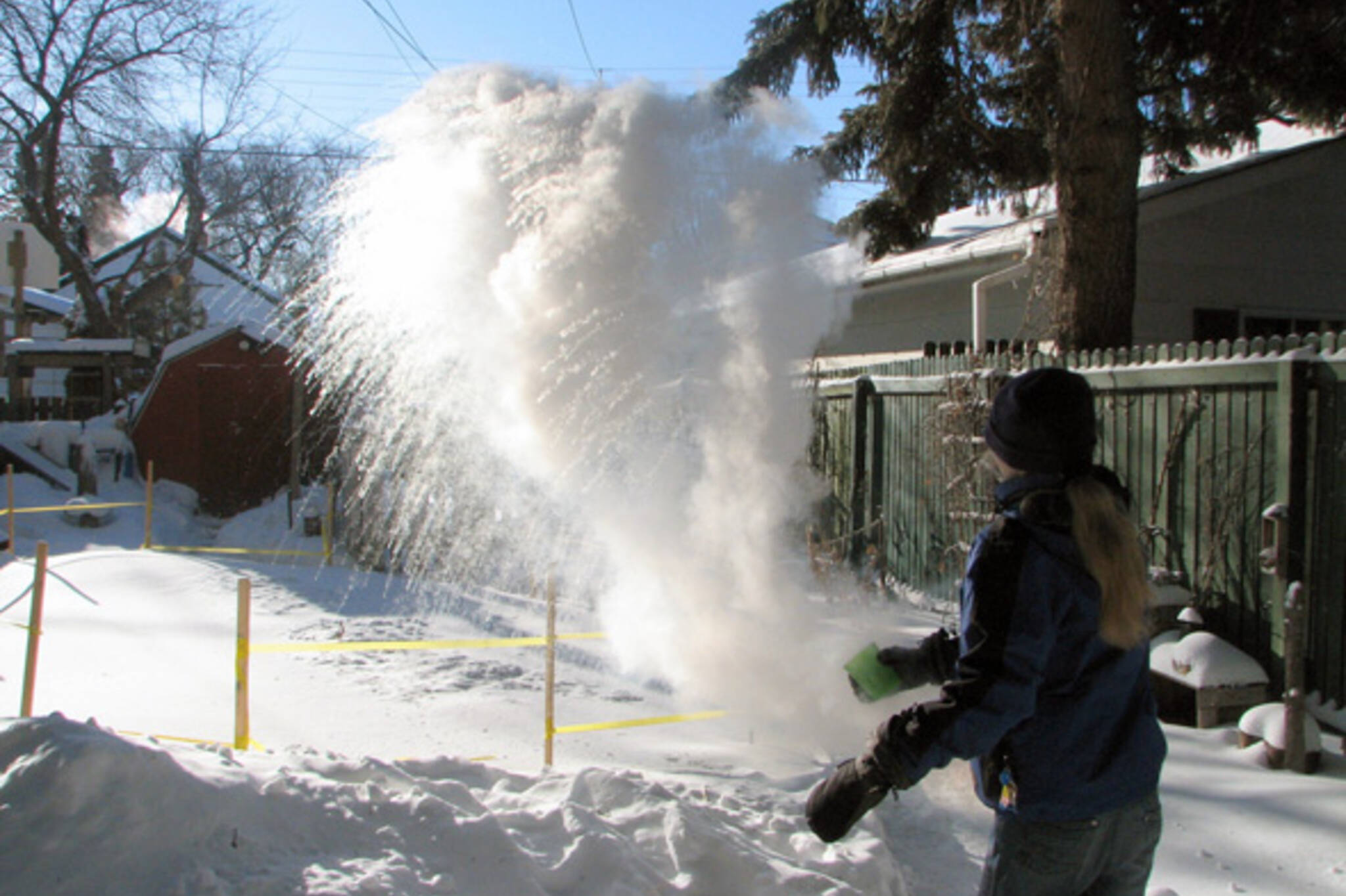 boiling water snow