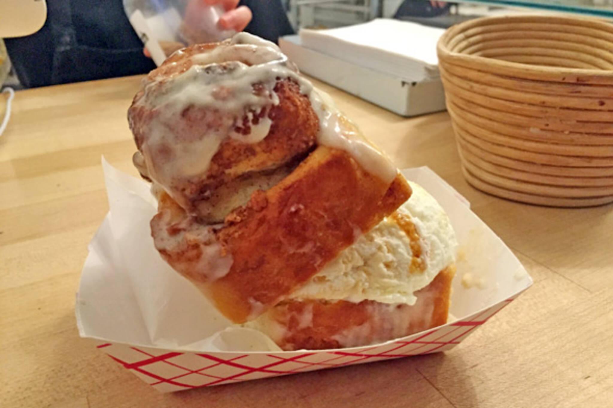 cinnamon bun ice cream sandwich