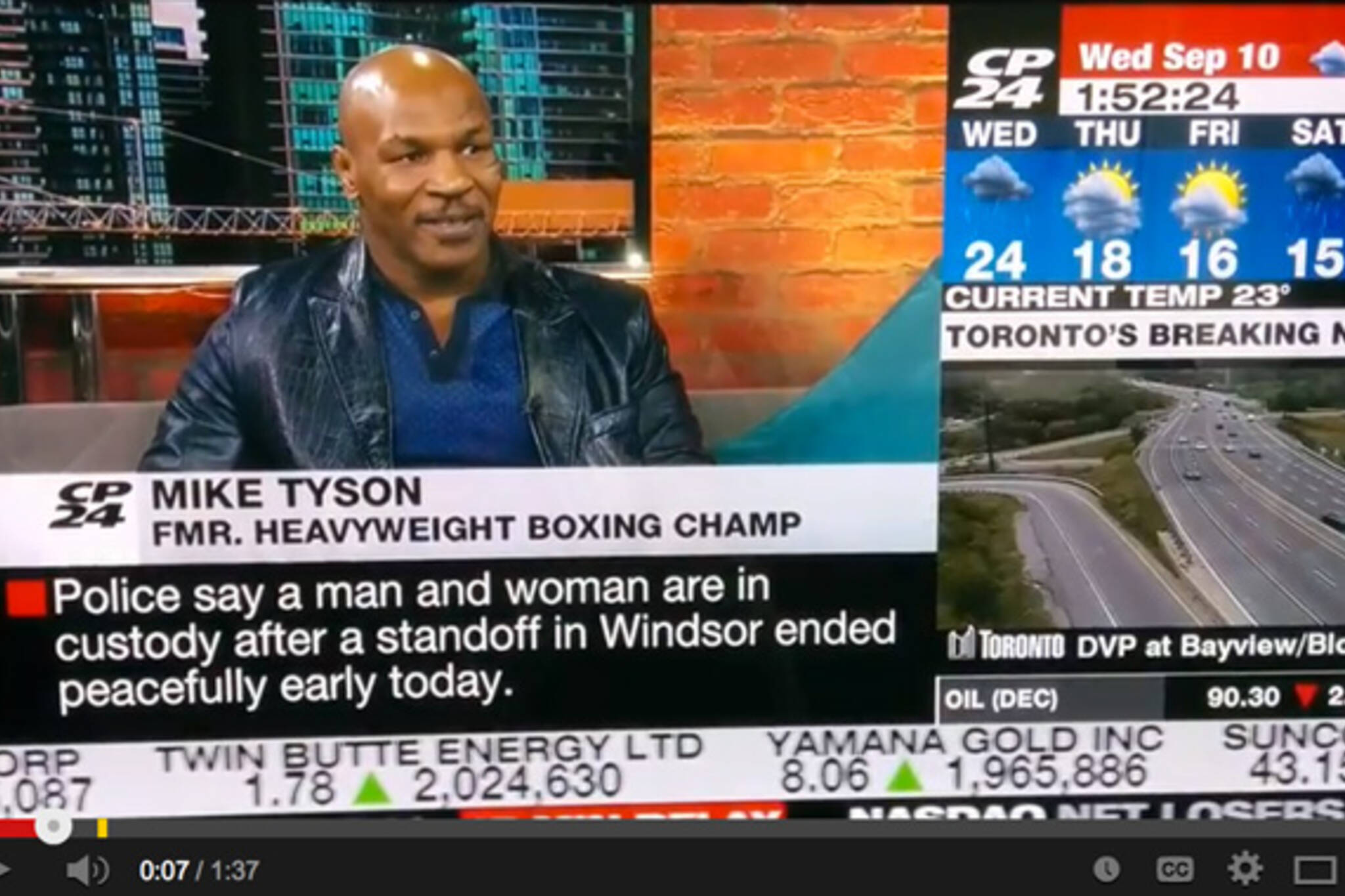 Mike Tyson freaks out live on air on CP24