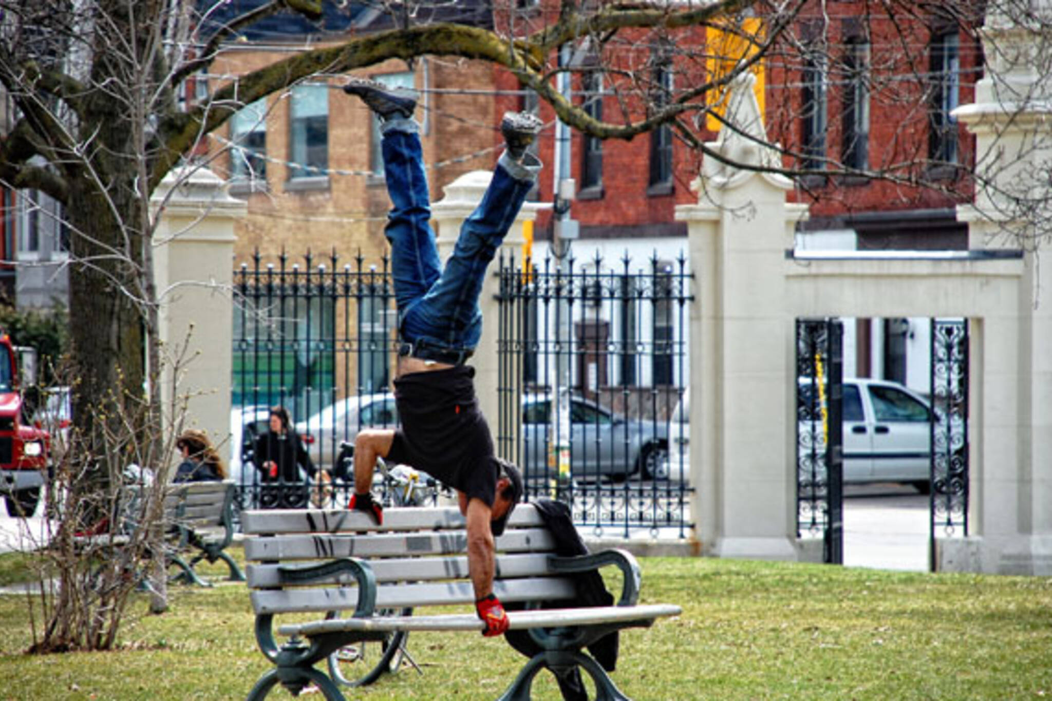park bench acrobactics