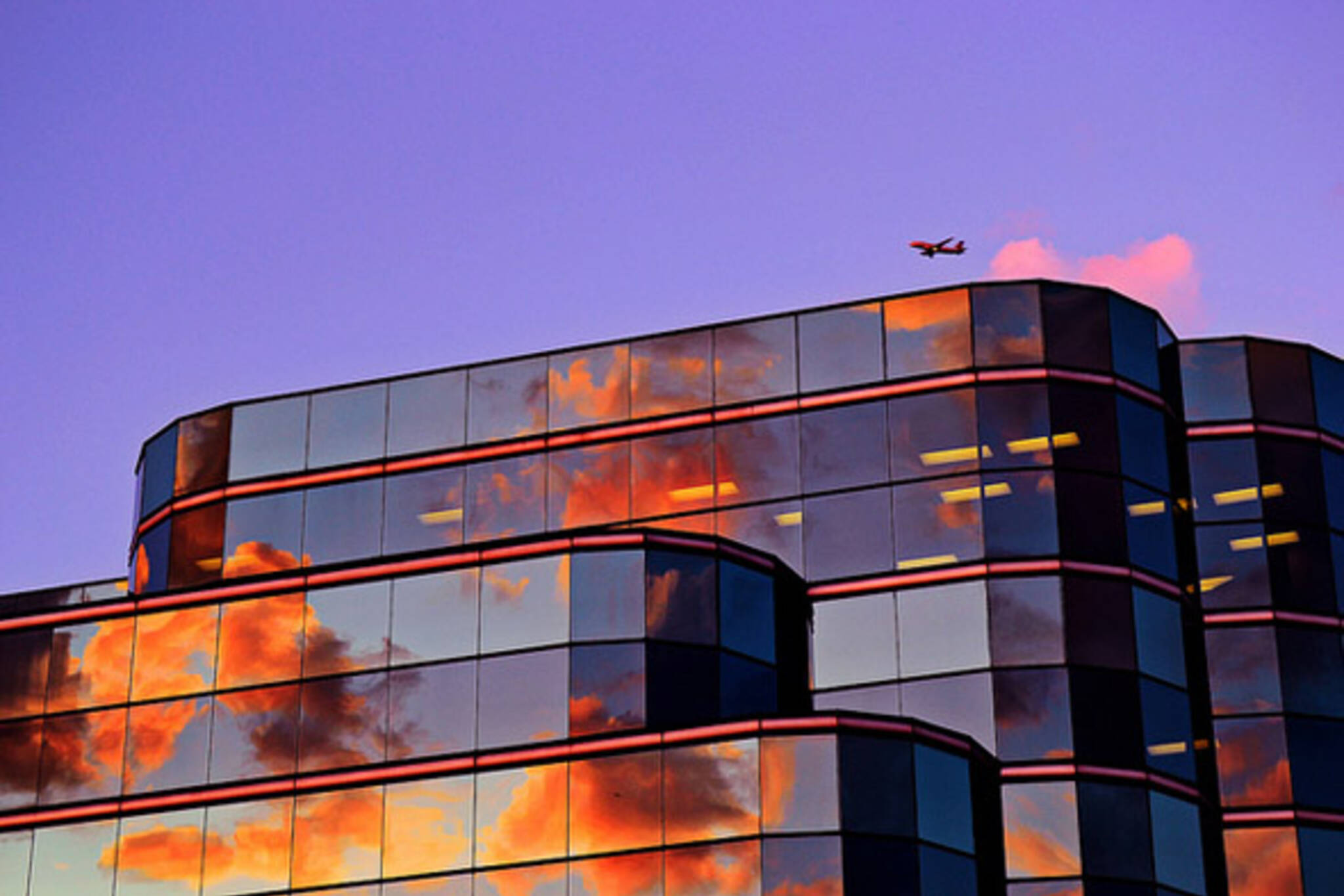plane, clouds, sunset