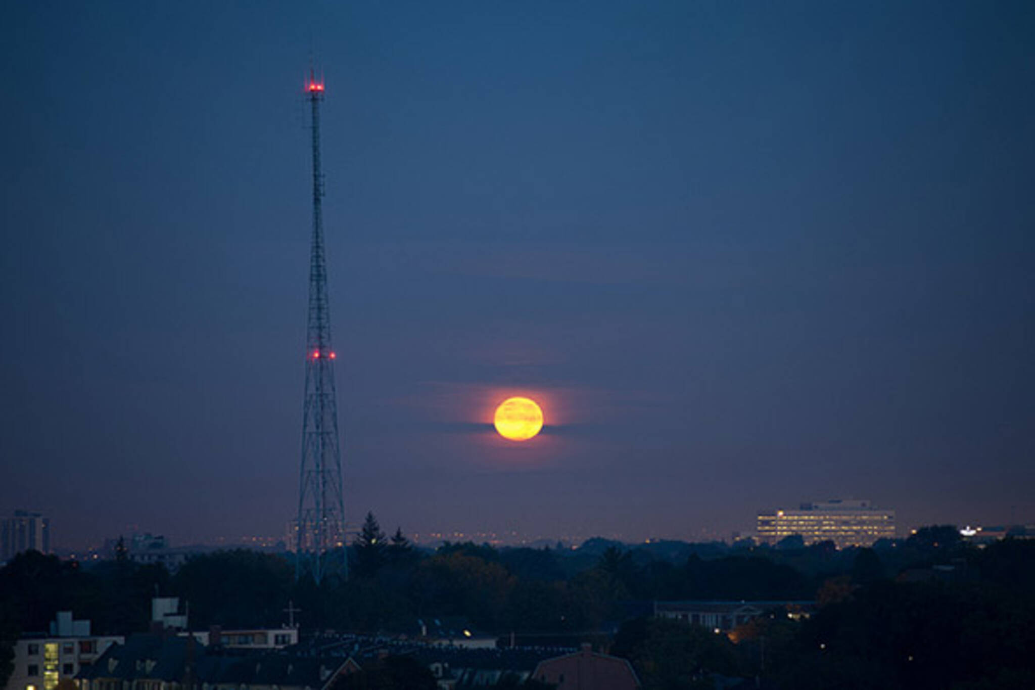 moon, sunrise, morning