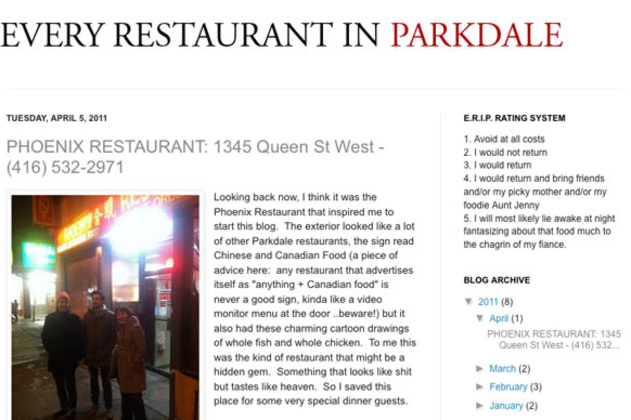 Every restaurant in Parkdale