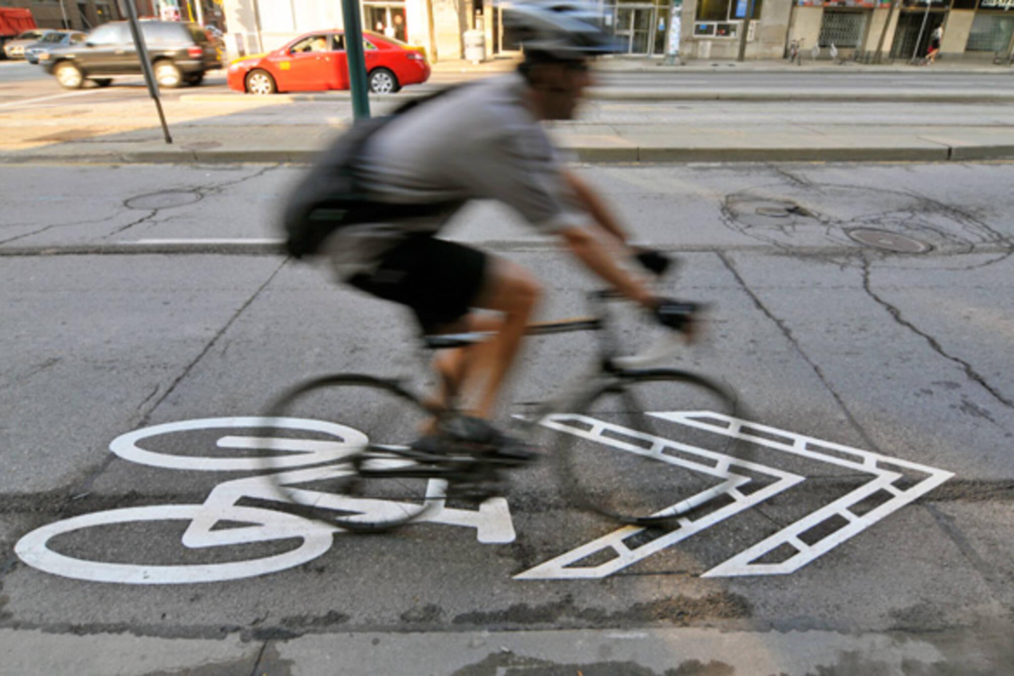 Sharrows Spadina cyclist Toronto