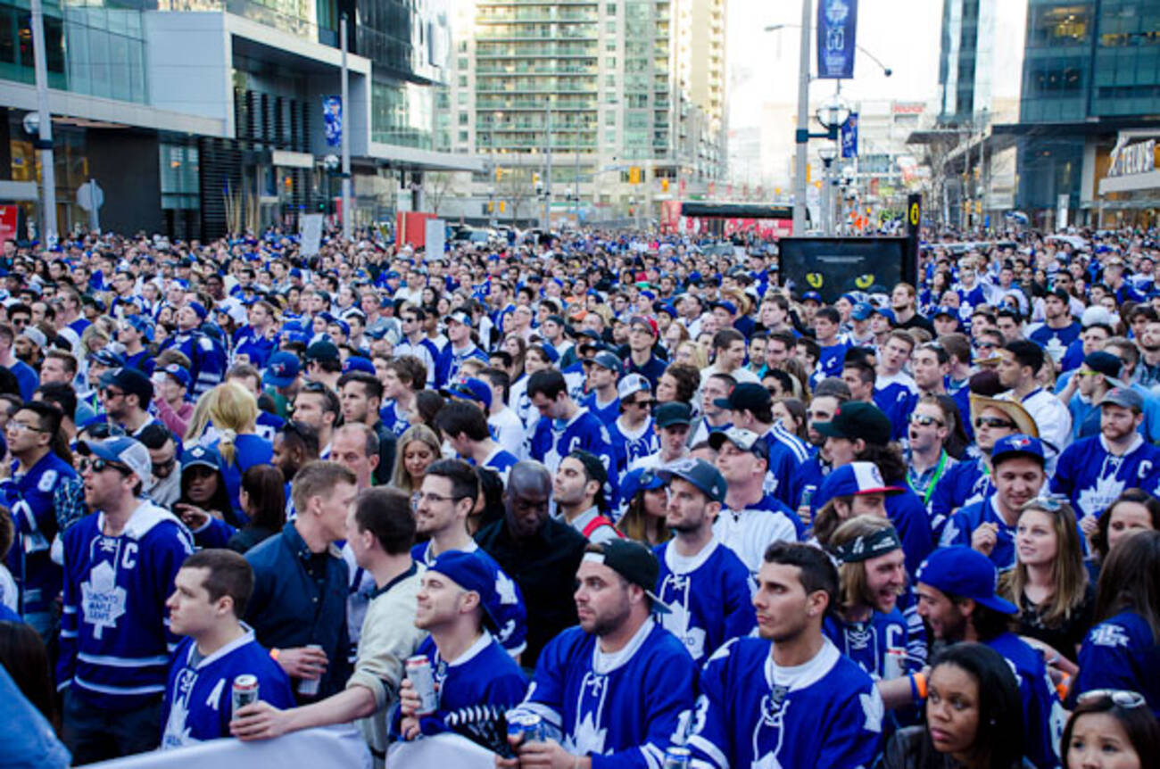 Photos Of Frenzied Hockey Fans At Maple Leaf Square