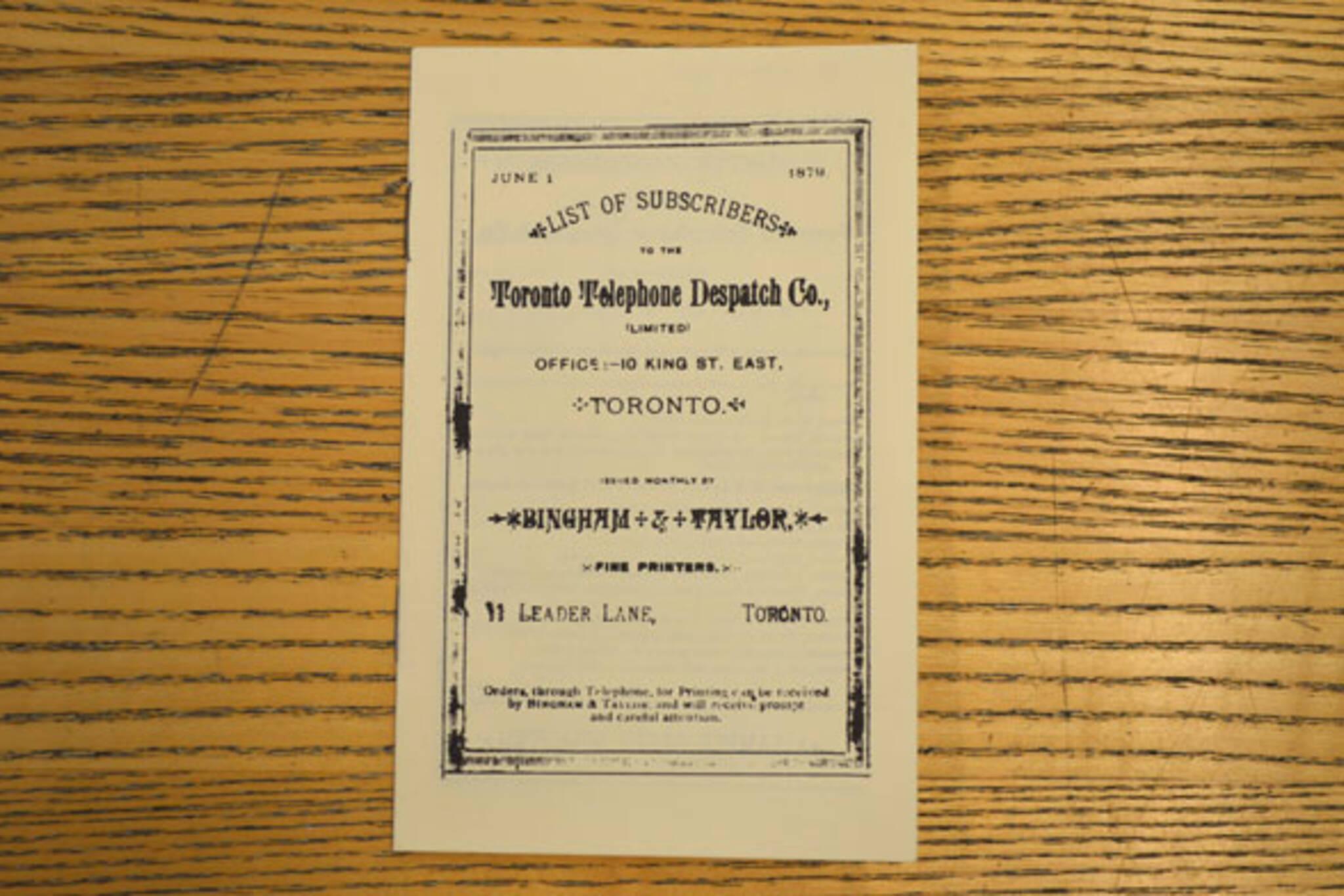 toronto first telephone book