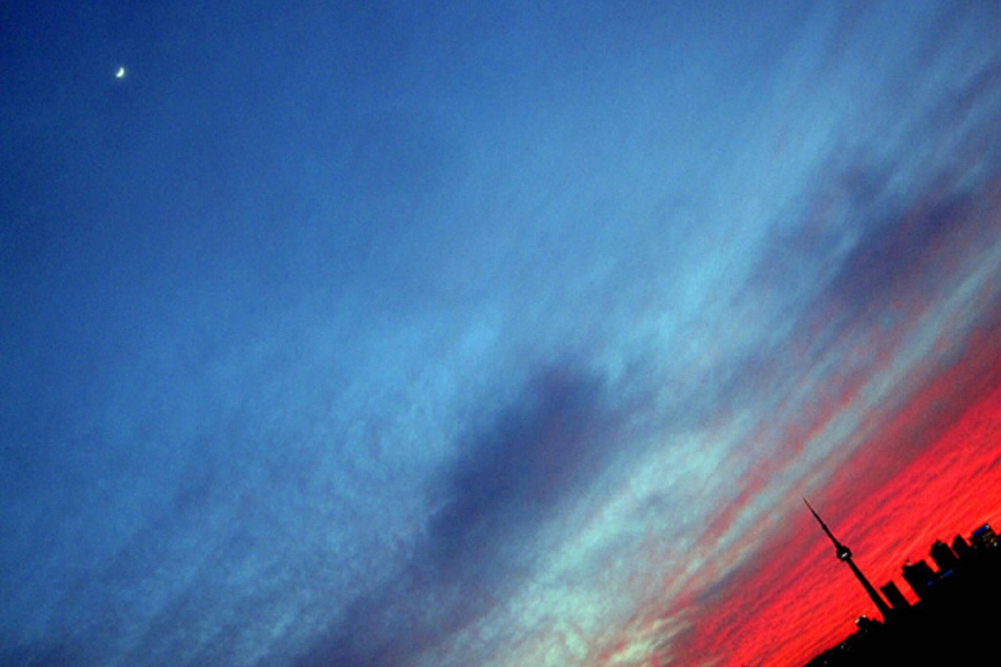 sunset, skyline, photo