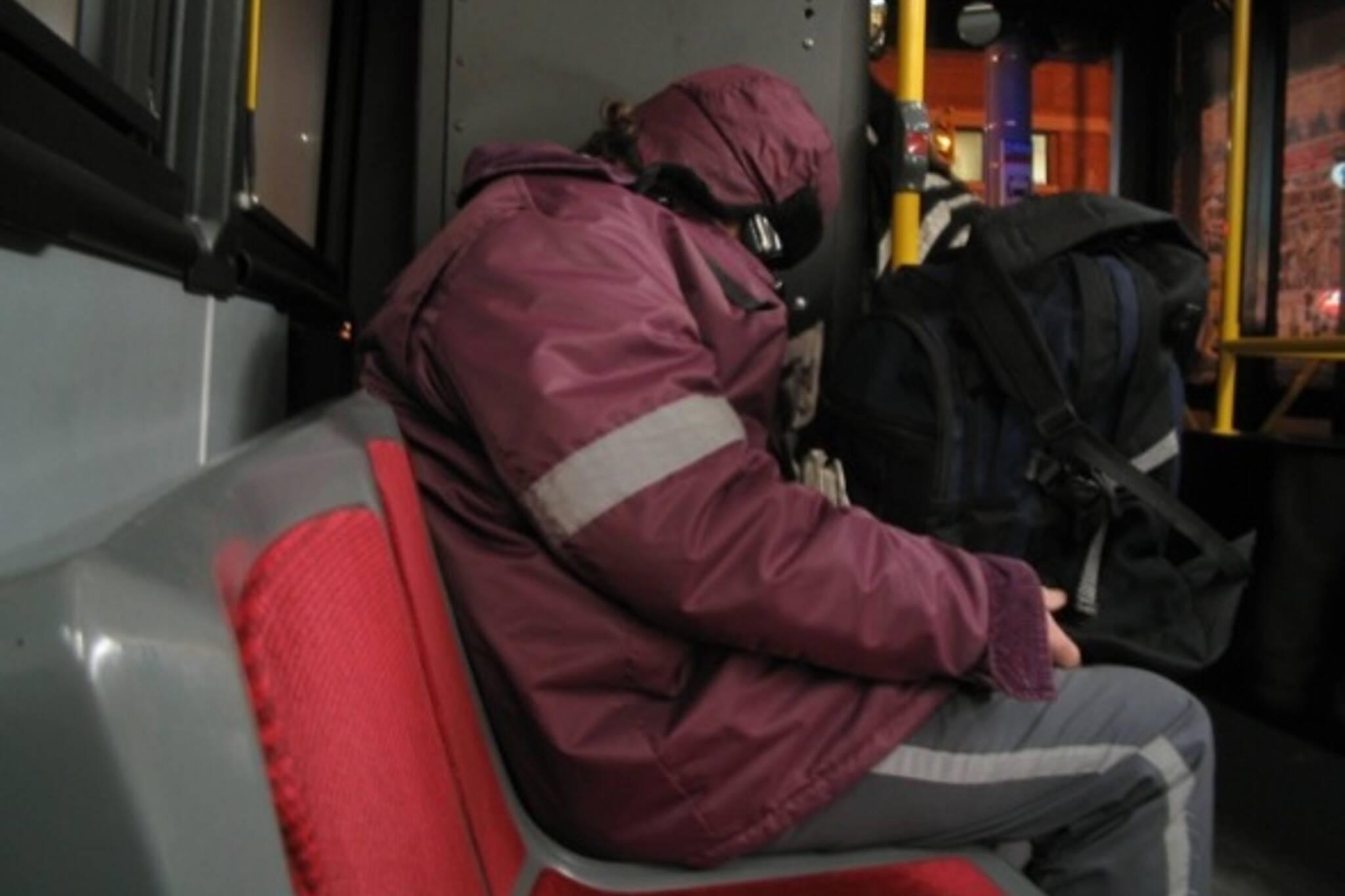 TTC driver sleeping on bus