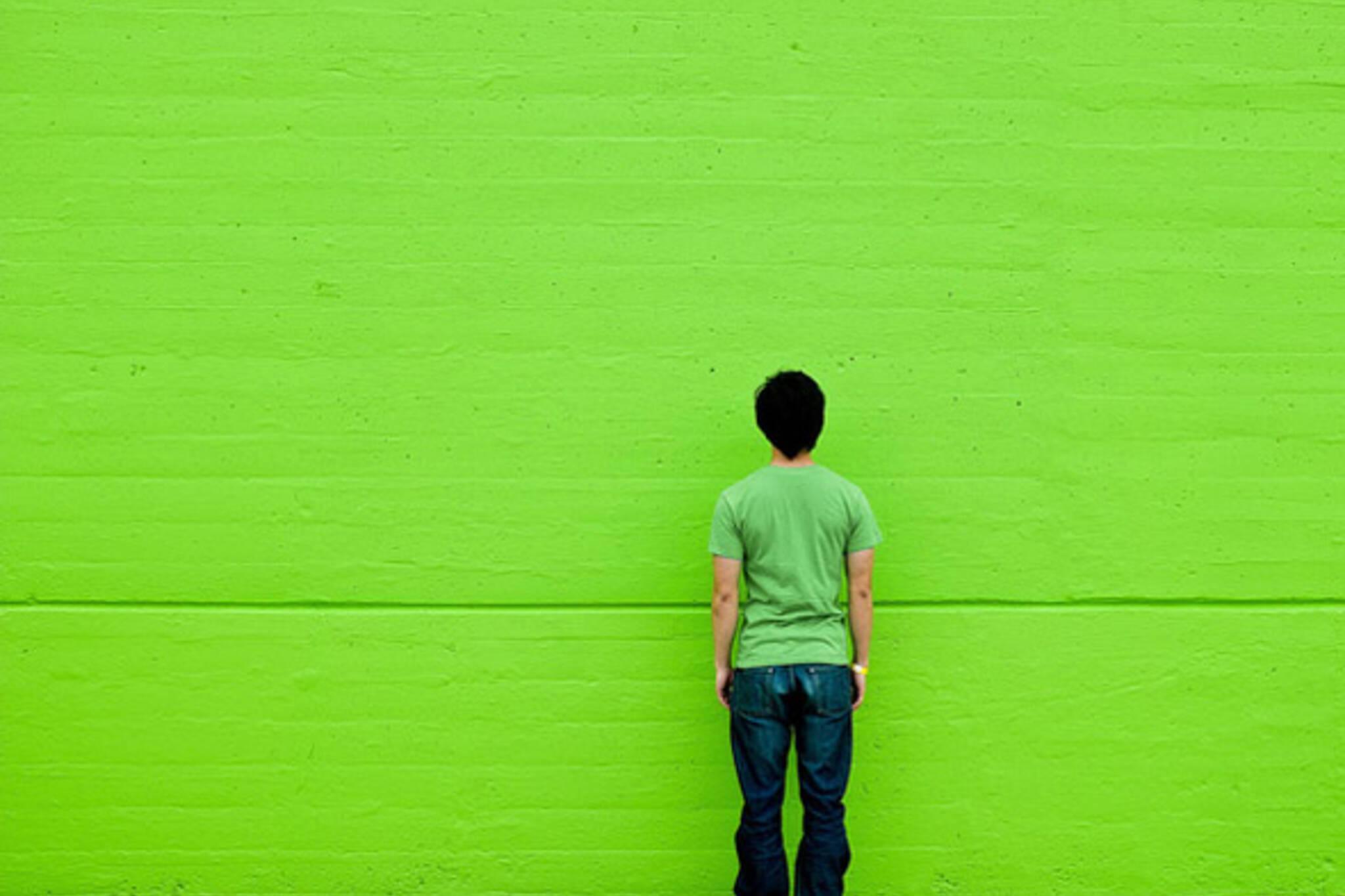 green, wall, shirt