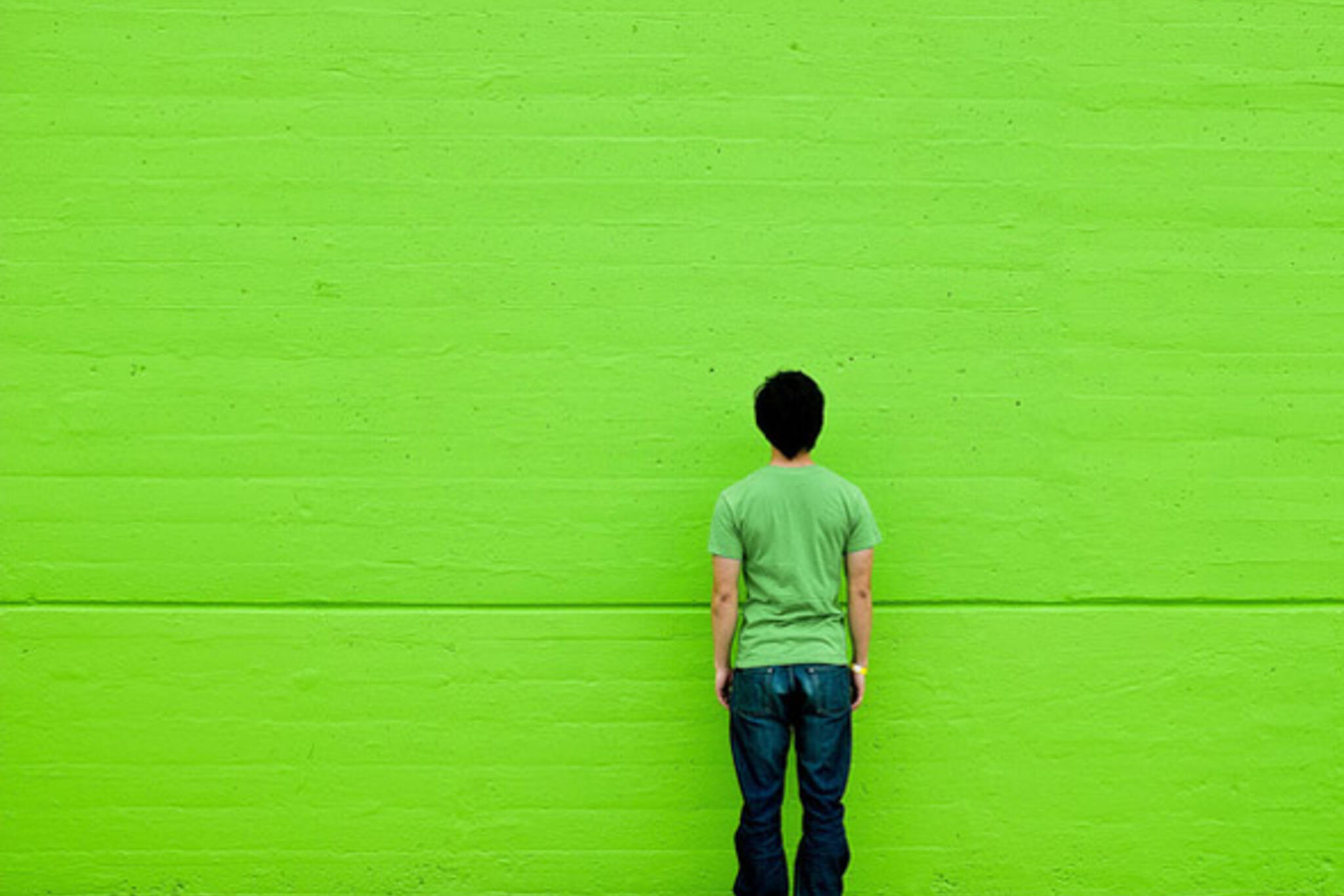 green, wall, shirt
